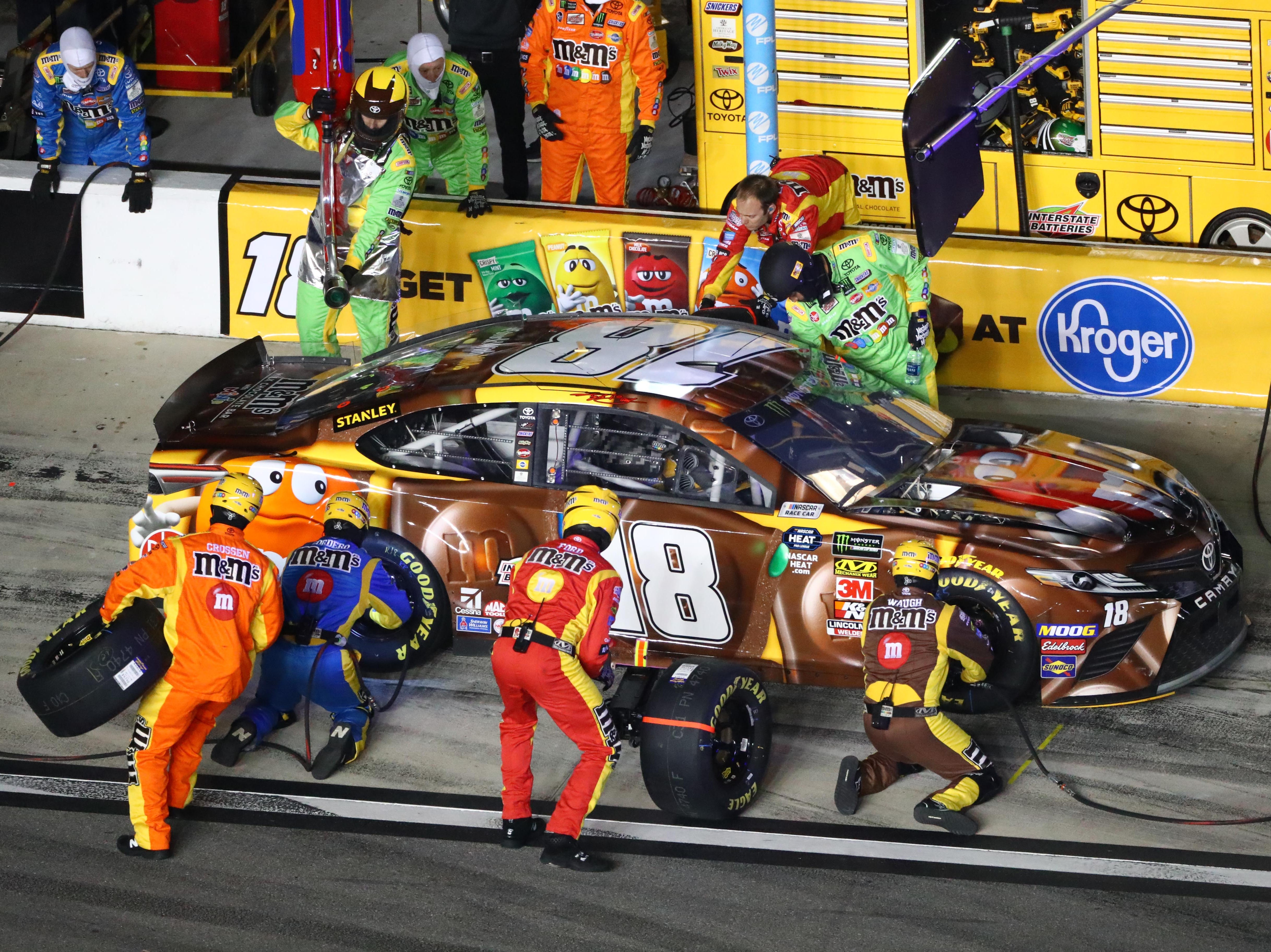 Feb 14: Kyle Busch (18) was forced to change two flat tires after contact with Jimmie Johnson during the Gander RV Duel 1.