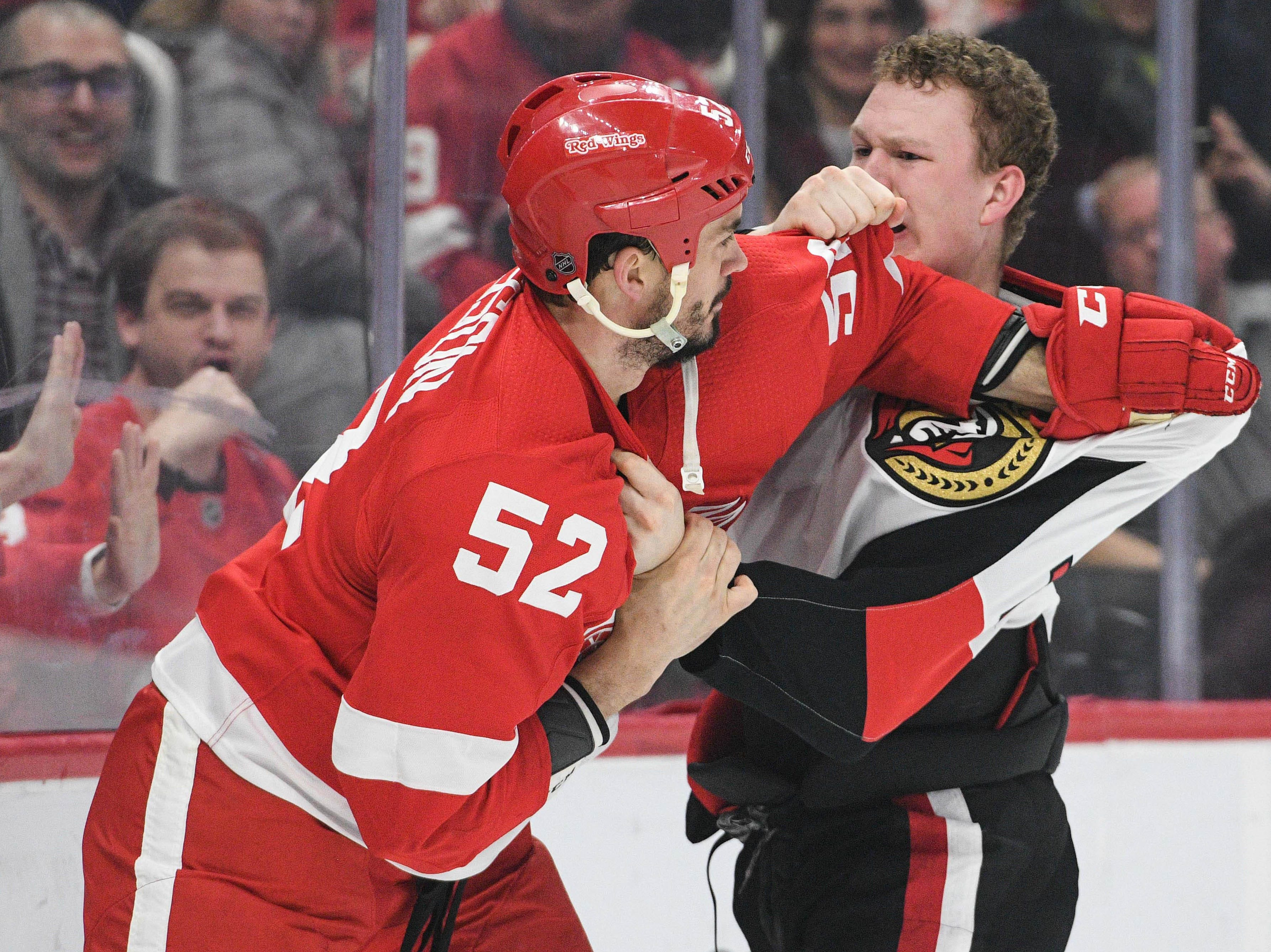 Feb. 14: Detroit Red Wings' Jonathan Ericsson vs. Ottawa Senators' Brady Tkachuk.