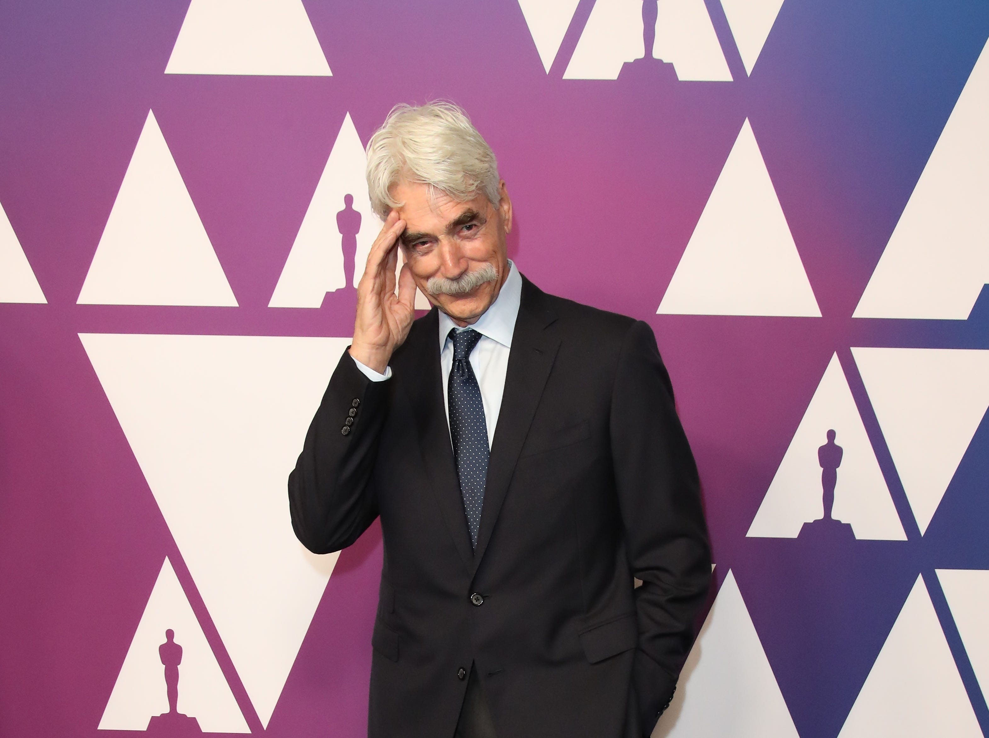 2/4/19 12:20:05 PM -- Beverly Hills, CA, U.S.A  -- Sam Elliott arrives at the 91st Oscar nominees luncheon at the Beverly Hilton Hotel in Beverly Hills, CA--    Photo by Dan MacMedan, USA TODAY contract photographer ORG XMIT:  DM 137796 OscarNomineesLun 2/4/2019 [Via MerlinFTP Drop]