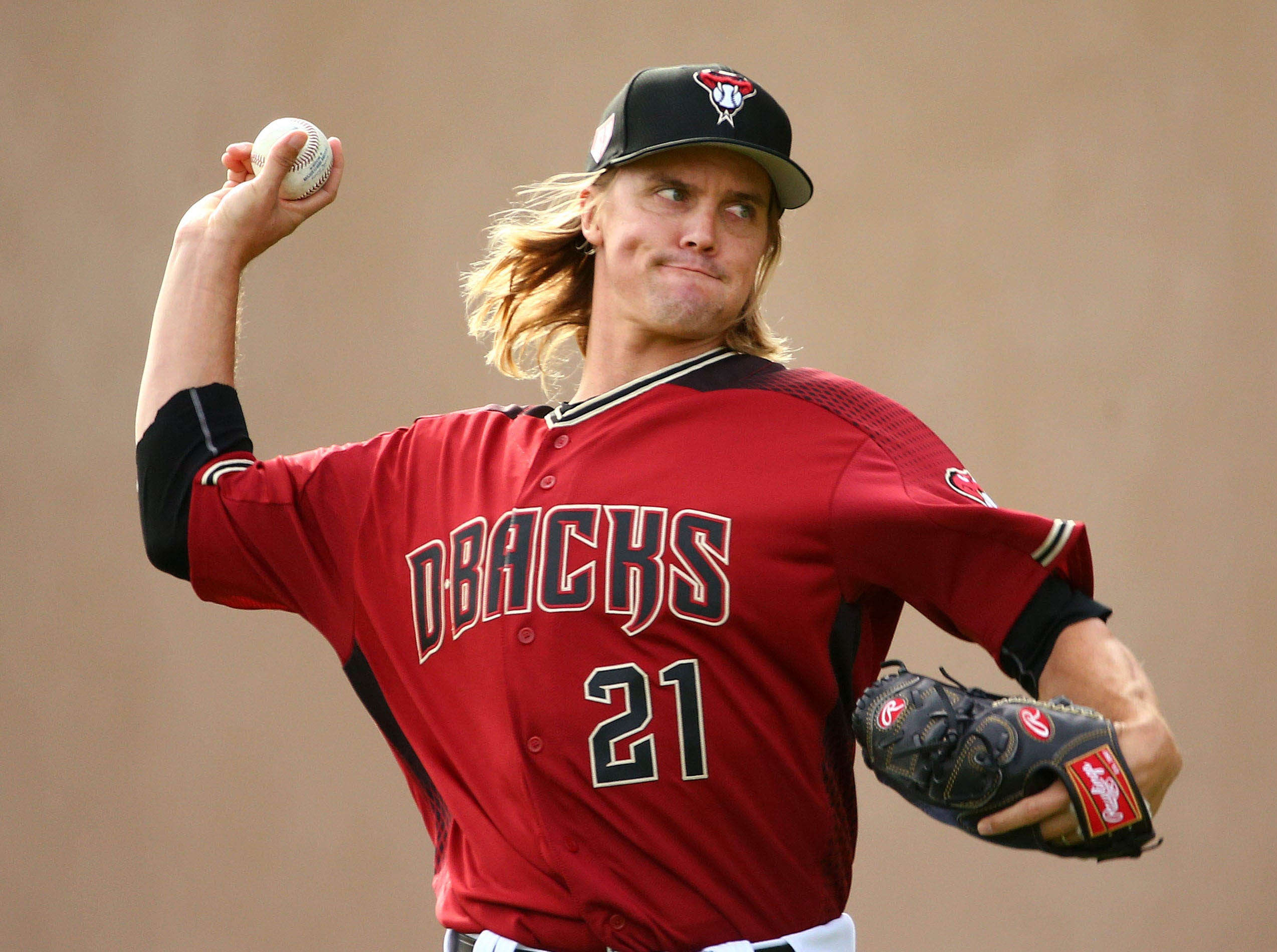 Feb. 15: Diamondbacks pitcher Zack Greinke throws at Salt River Fields.