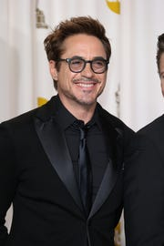 2/24/13 6:31:05 PM -- Hollywood, CA, U.S.A Robert Downey Jr.  poses in the photo room at the 85th annual Academy Awards --  PHOTO EMBARGOED UNTIL LAST CREDIT ROLLS ON OSCARS TELECAST   Photo by Dan MacMedan, USA TODAY contract photographer   ORG XMIT: DM 42987 2013 ACADEMY AWA 2/20/2013  [Via MerlinFTP Drop]