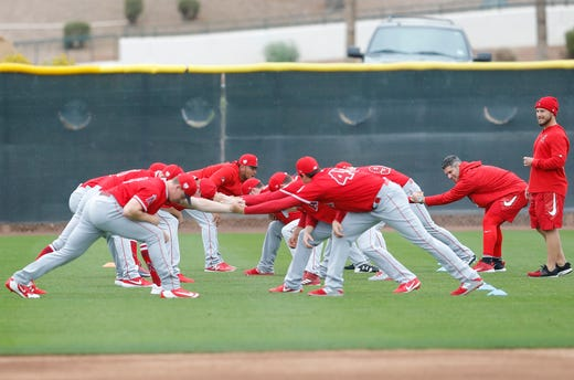 Feb. 14: Angels pitchers stretch at camp at Tempe Diablo Stadium.