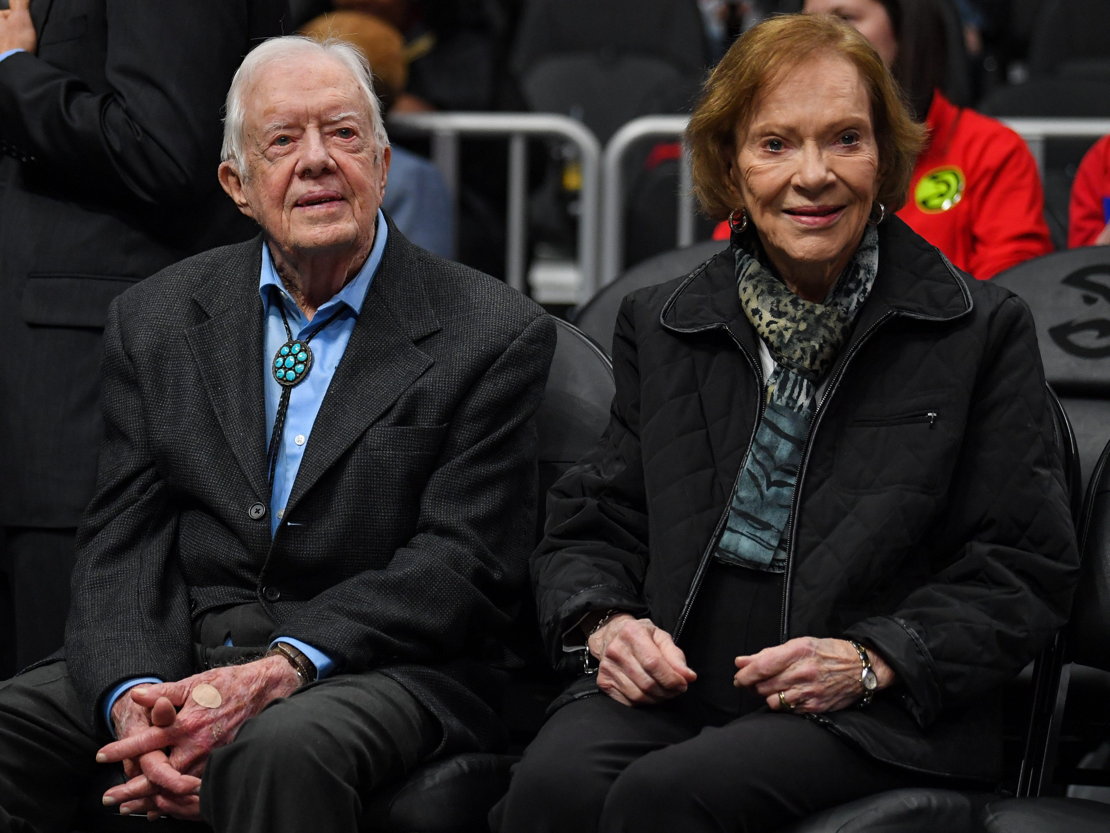 Feb. 14: Former President and First Lady Jimmy and Rosalynn Carter take in the Hawks-Knicks game in Atlanta.