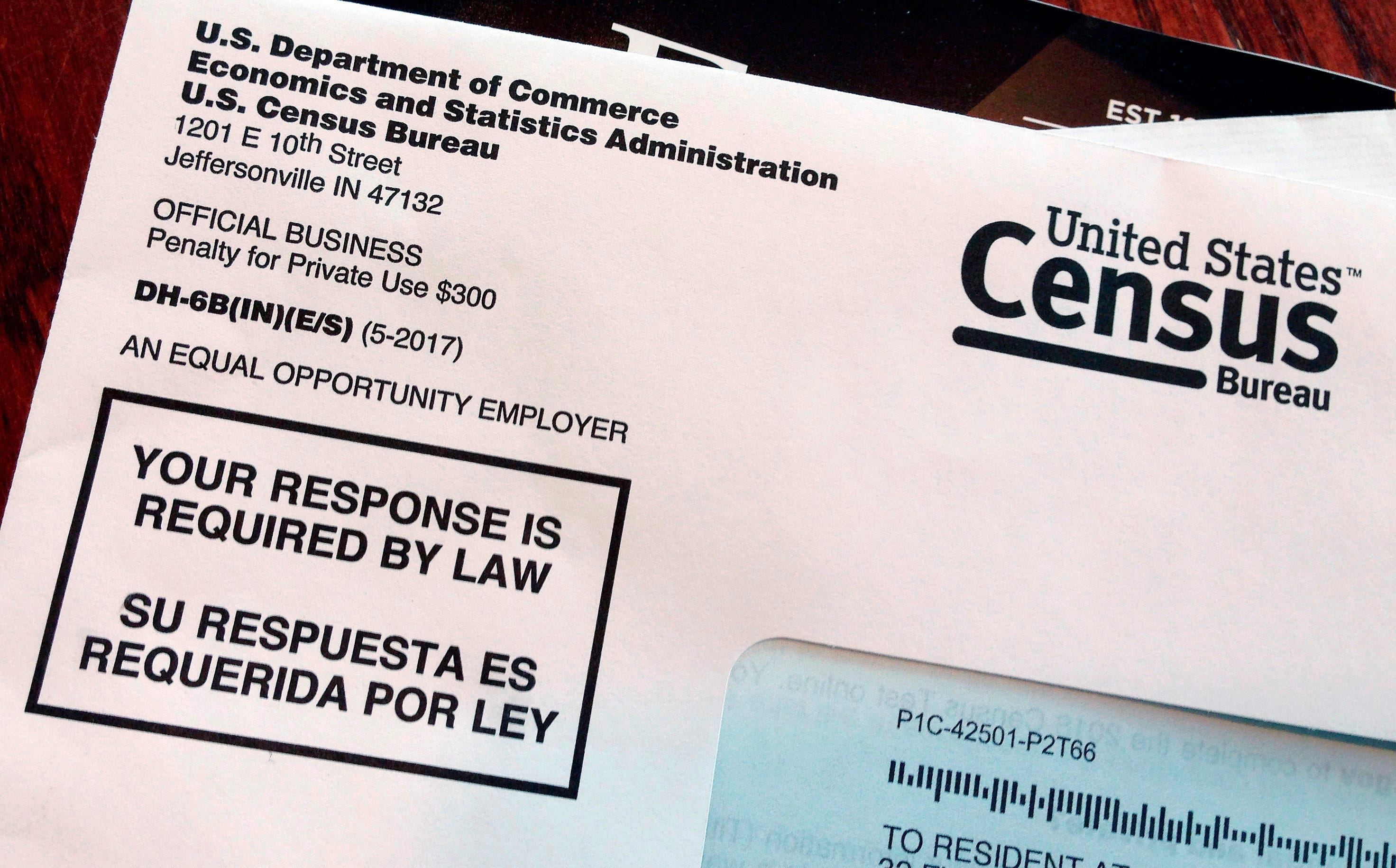 File photo shows an envelope containing a 2018 census letter mailed to a U.S. resident as part of the nation's only test run of the 2020 Census.