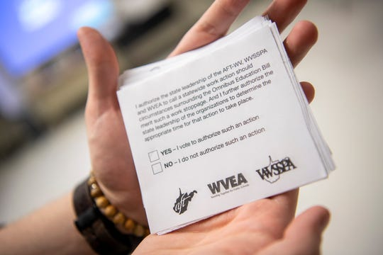 Eric Starr displays a ballot paper that is used to decide whether teachers, staff and administrators will strike in protest against the controversial draft law on education in West Virginia.