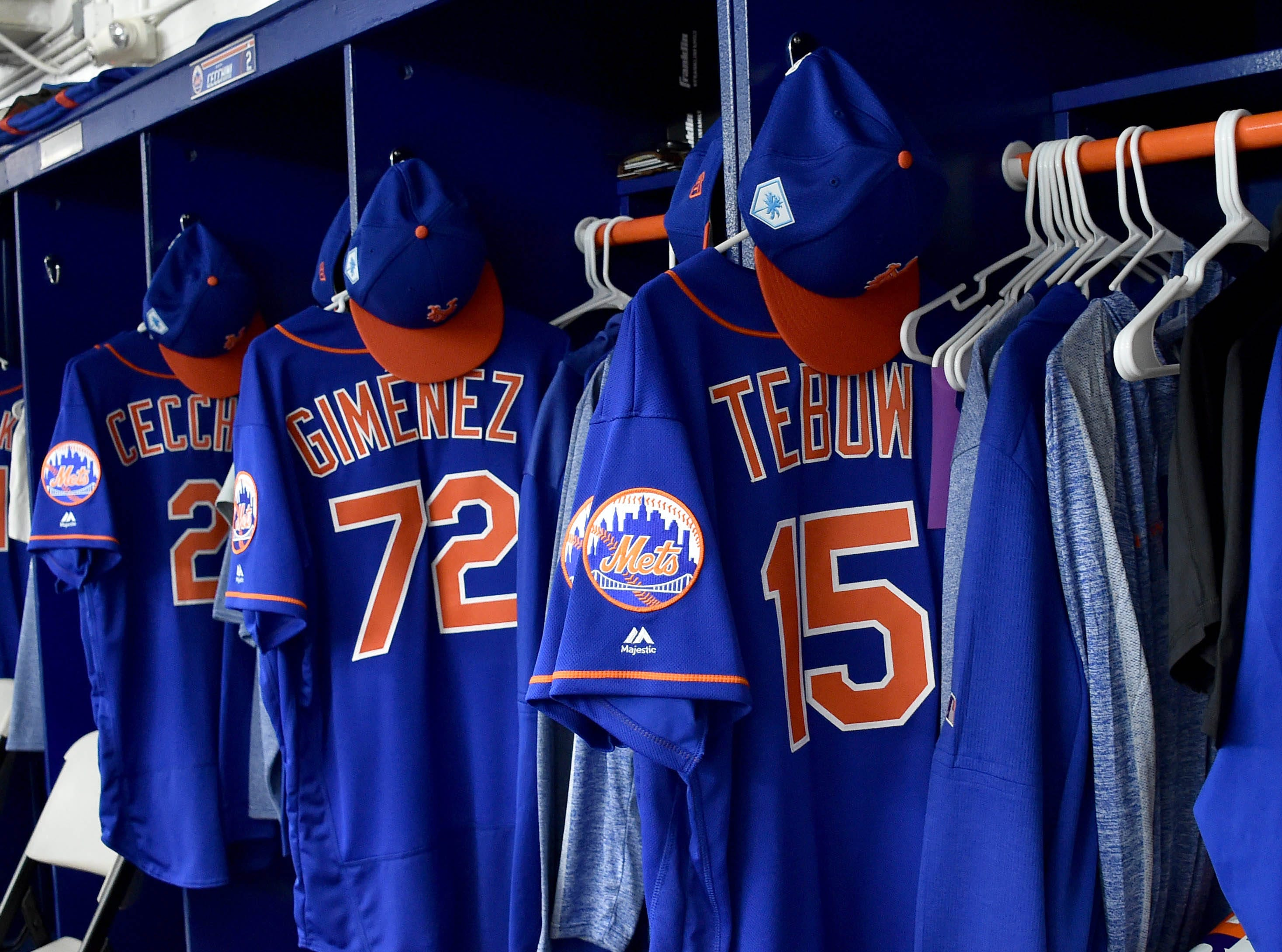 Feb. 15: A view of Tim Tebow's locker at Mets camp in Port St Lucie.