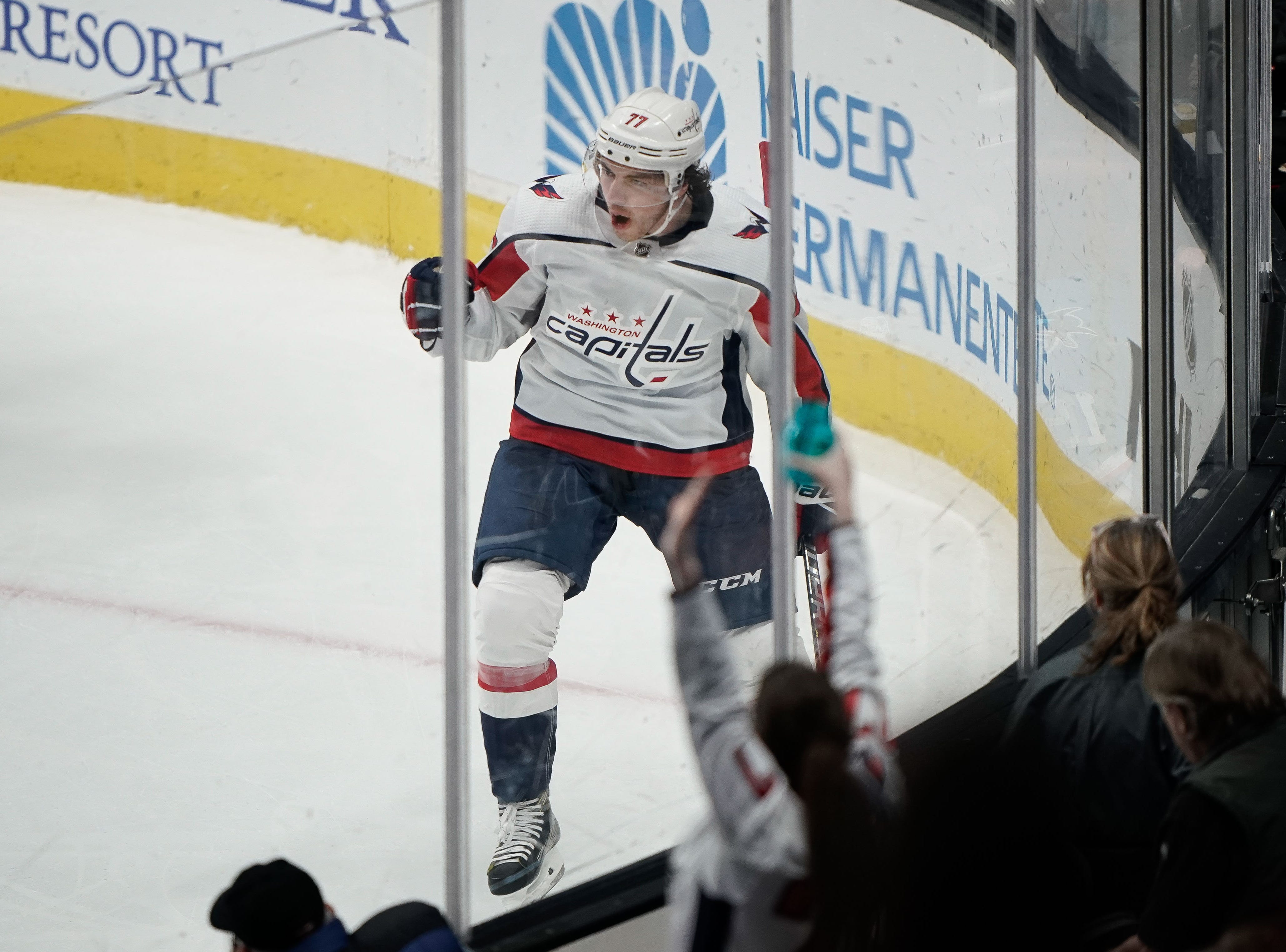Feb. 14: Washington Capitals right wing T.J. Oshie celebrates after scoring against the San Jose Sharks during the second period at SAP Center. With two goals and an assist Oshie hit 500 points in his career.