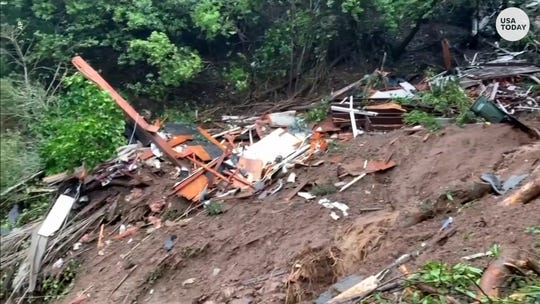 California flooding: Woman rescued after mudslide destroyed her home