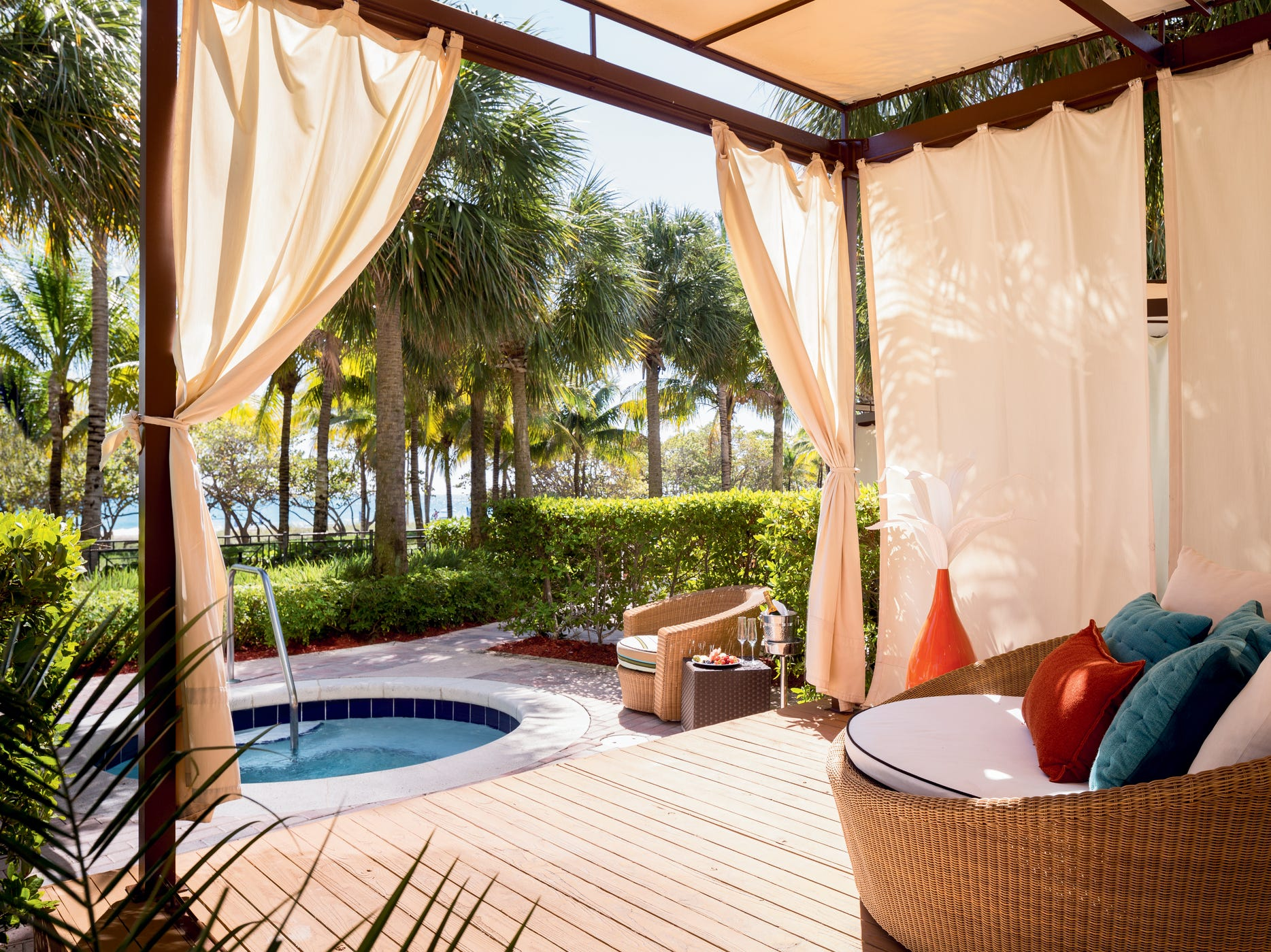 The cabanas at the swank Ritz-Carlton Bal Harbour Miami come with a private hot tub and a personal concierge. Prices start at $350 for the day.
