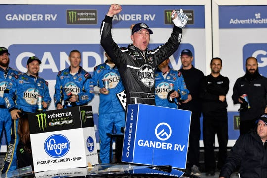 Kevin Harvick celebrates after winning the Gander RV Duel 1 at Daytona International Speedway.