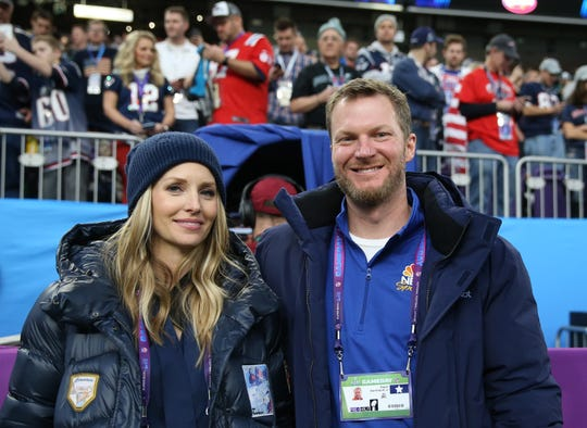 Dale Earnhardt  Jr. and his wife Amy at the 2018 Super Bowl.