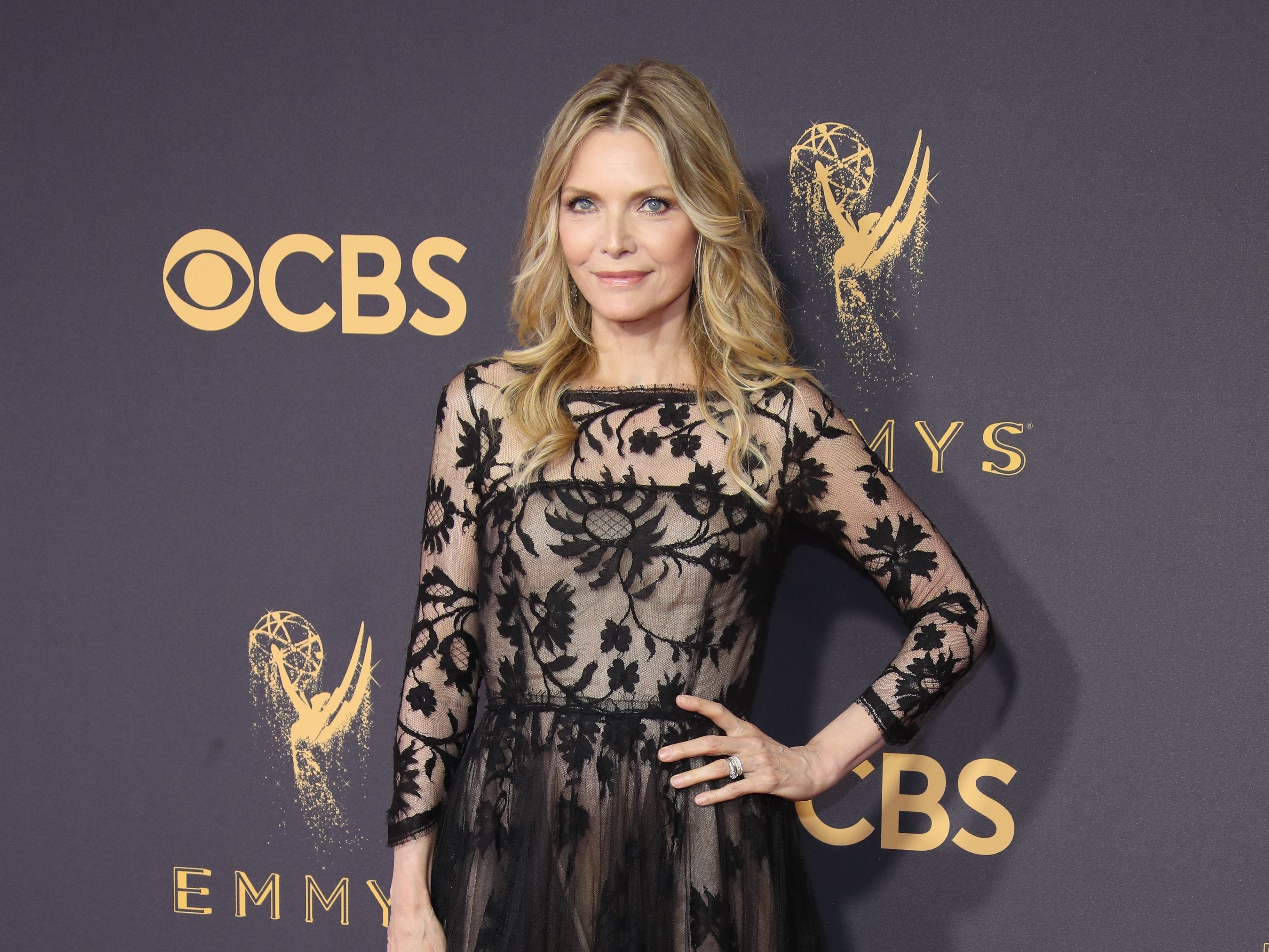 Sep 17, 2017; Los Angeles, CA, USA;  Michelle Pfeiffer arrives on the red carpet at the 69th Emmy Awards at the Microsoft Theater. Mandatory Credit: Dan MacMedan-USA TODAY ORG XMIT: USATSI-363643 (Via OlyDrop)