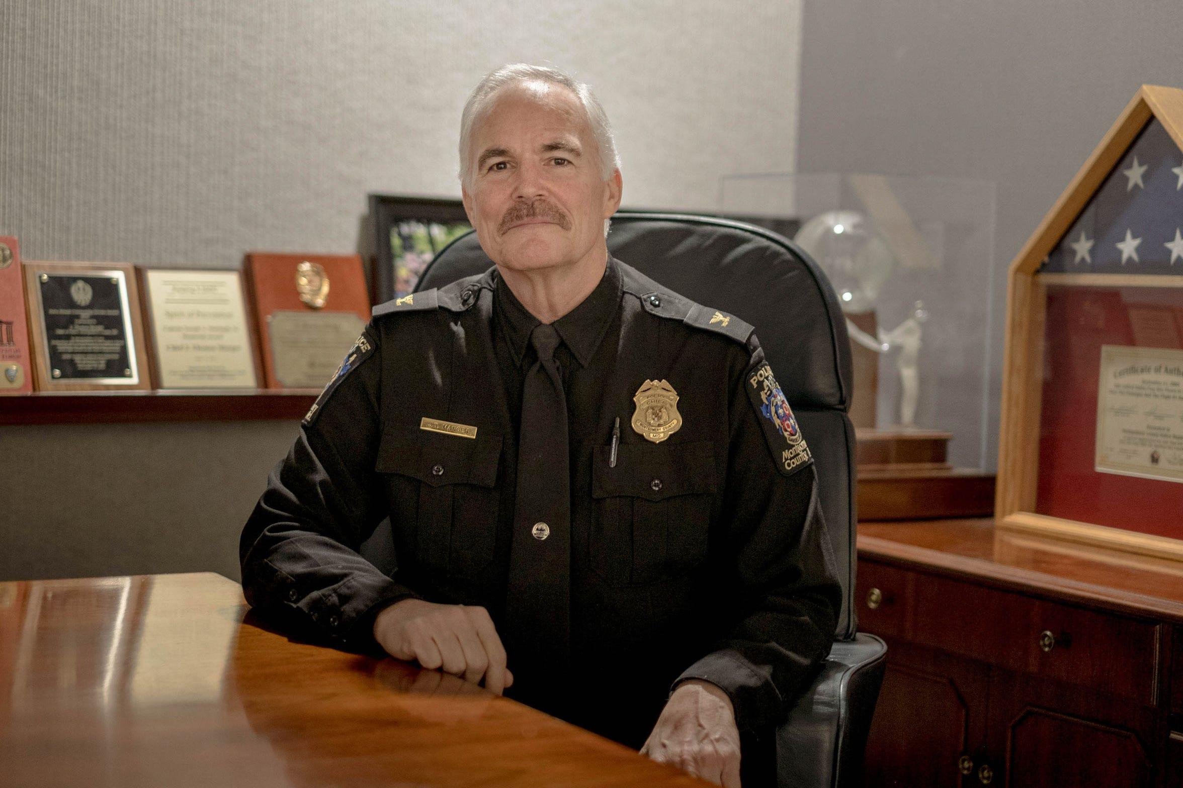 Montgomery County, Maryland, Police Chief Tom Manger has lobbied for the state to allow military veterans who are not citizens to be hired as police officers.