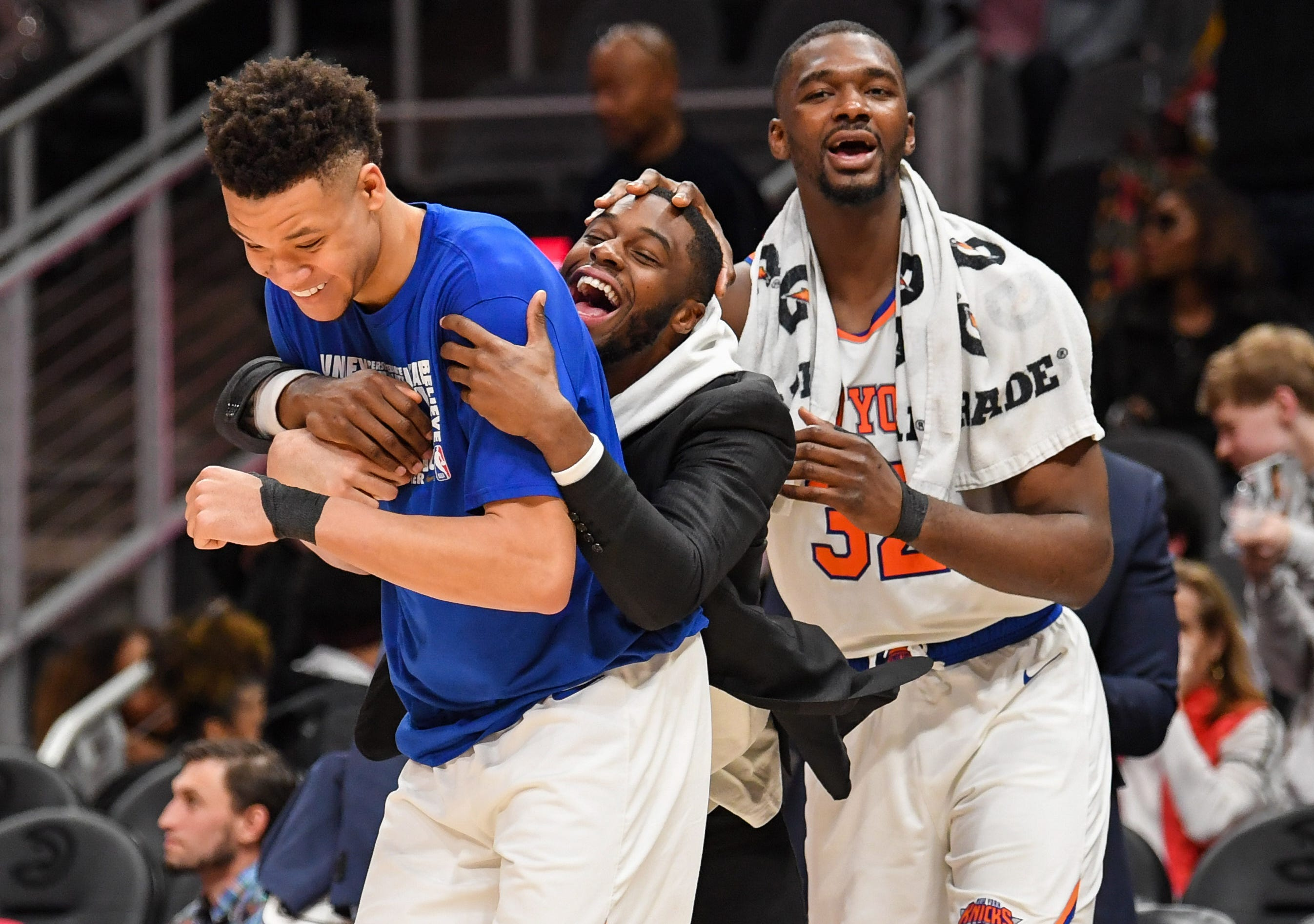 Feb. 14: The Knicks celebrate after beating the Hawks to snap an 18-game losing streak, the longest single-season slide in team history.
