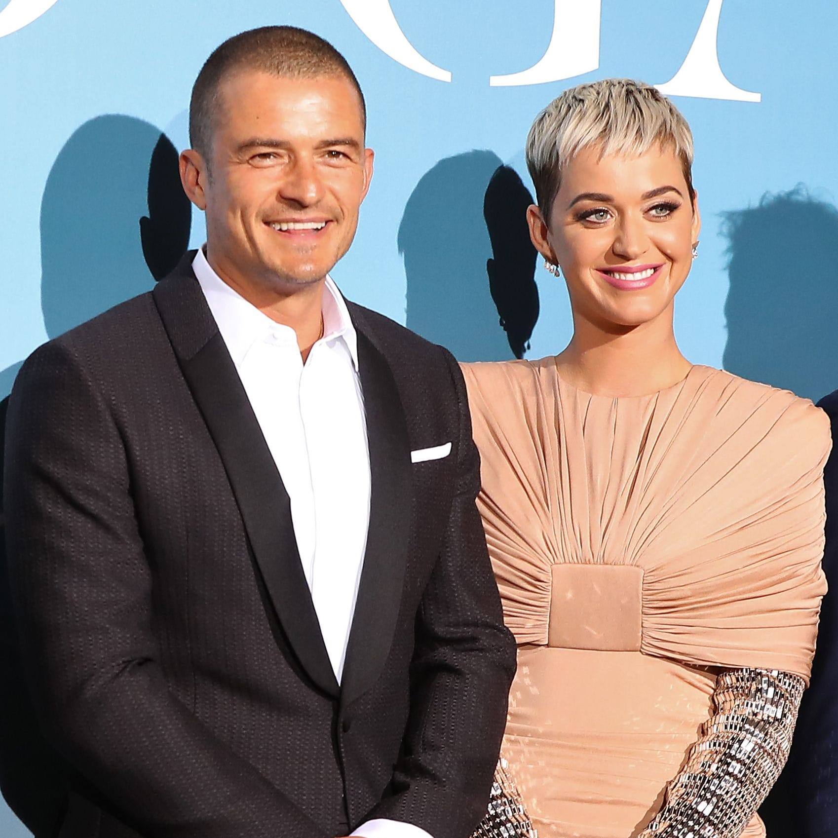 Orlando Bloom and Katy Perry pose upon their arrival at the 2nd Monte-Carlo Gala for the Global Ocean 2018 held in Monaco on Sept. 26.