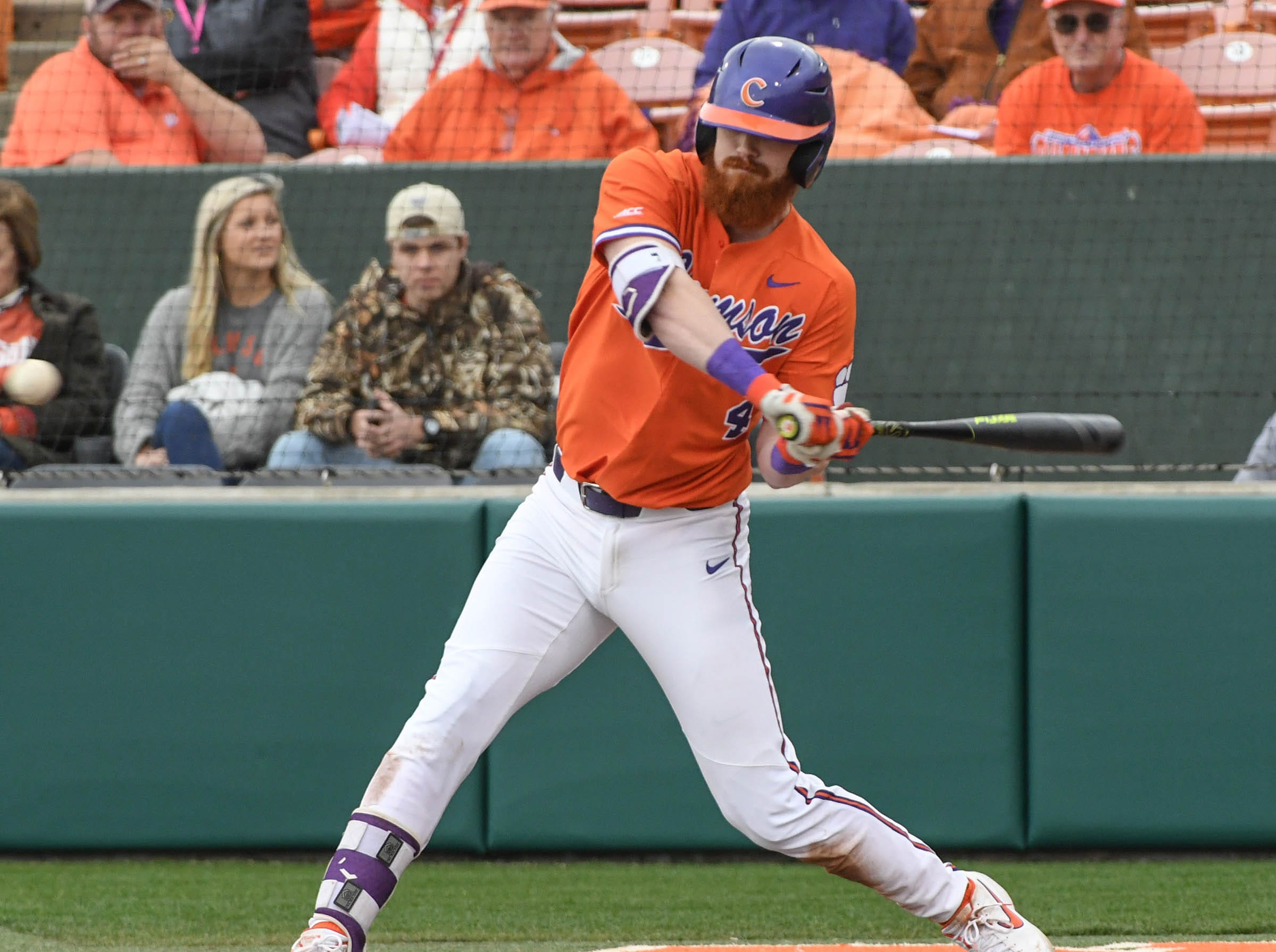 Clemson senior Grayson Byrd(4) plays against South Alabama during the bottom of the fourth inning at Doug Kingsmore Stadium in Clemson Friday, February 15, 2019.