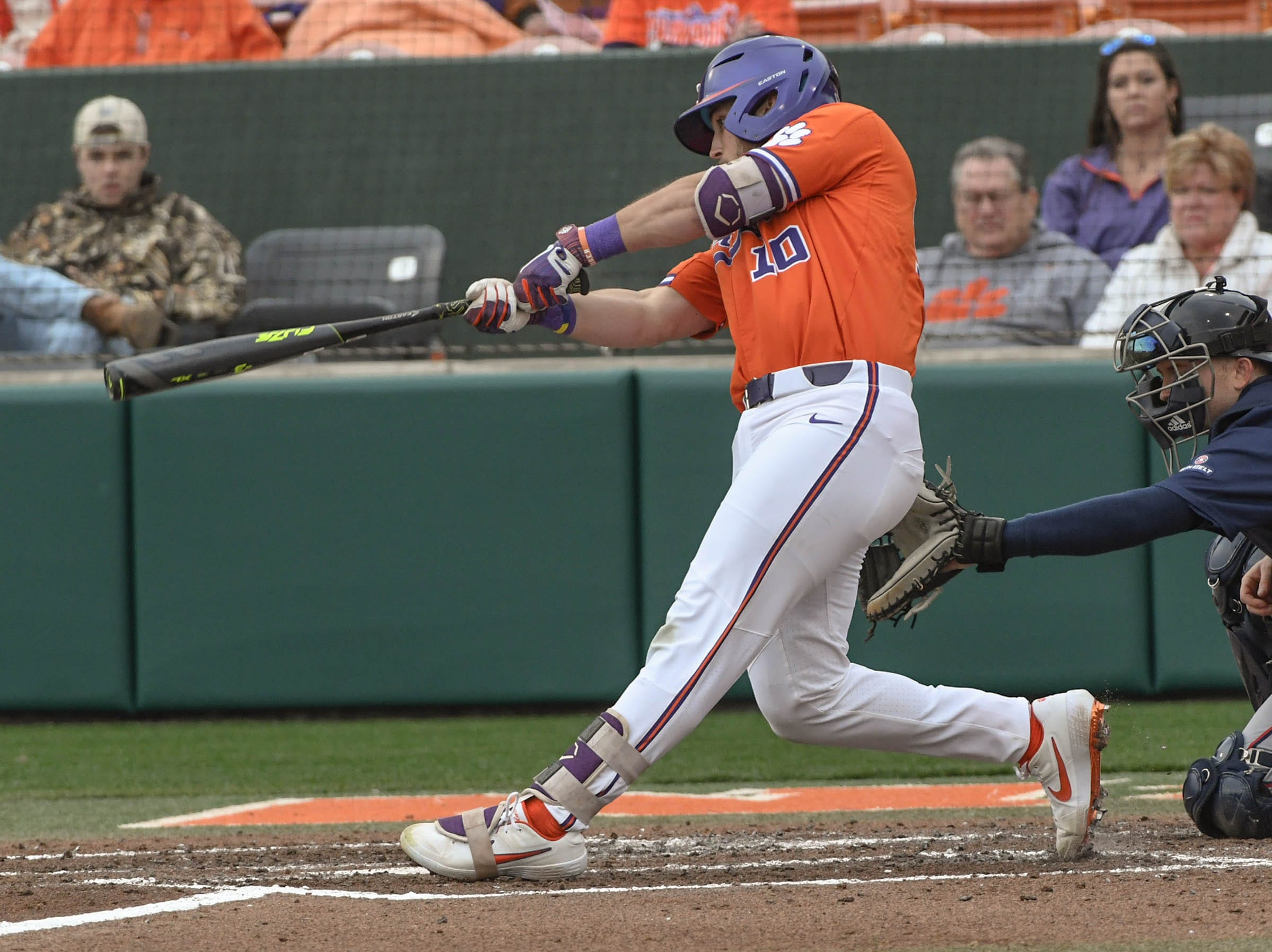 Clemson junior Kyle Wilkie(10) swings against South Alabama during the bottom of the fourth inning at Doug Kingsmore Stadium in Clemson Friday, February 15, 2019.