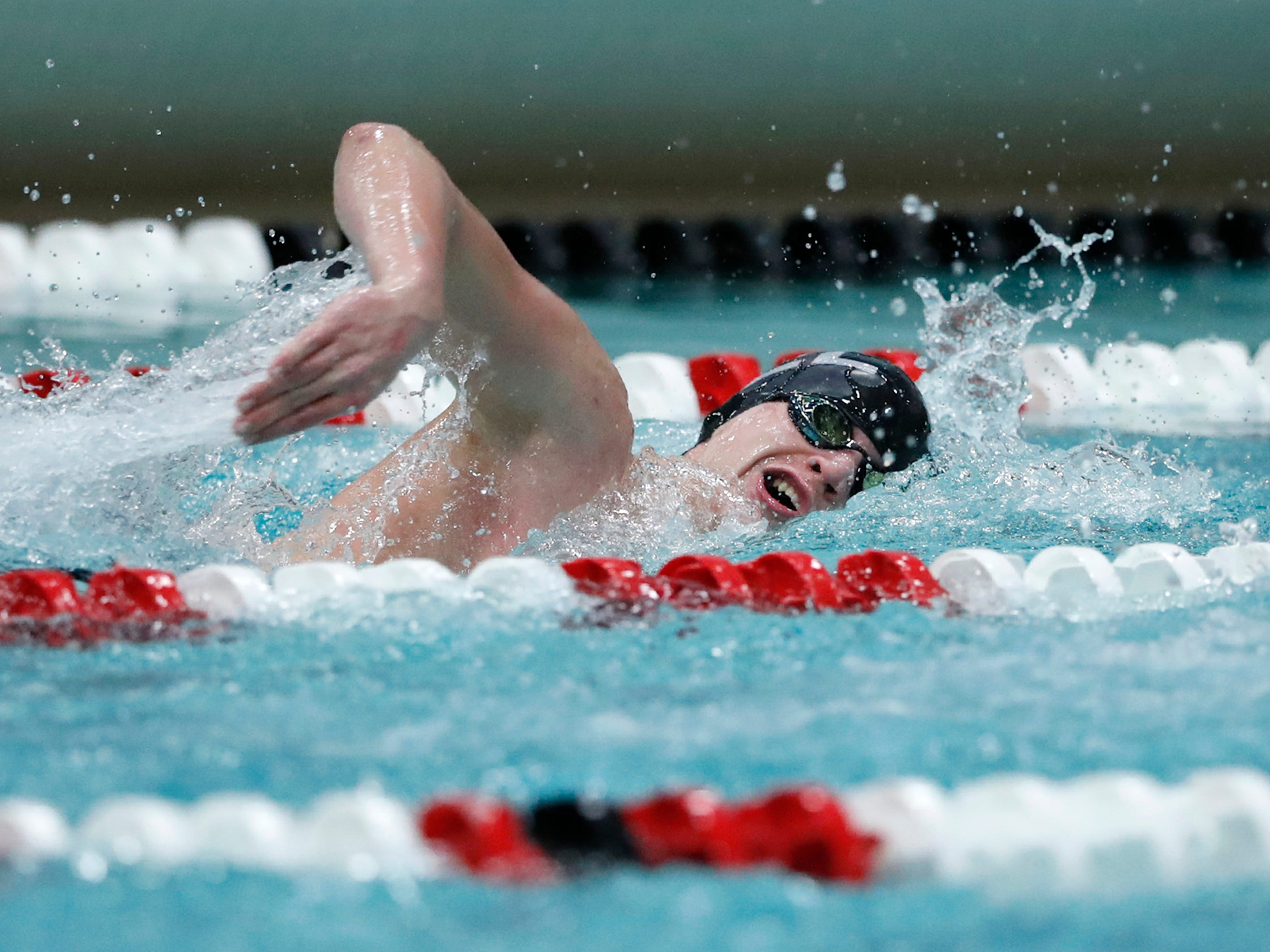 Kiel/Elkhart Lake-Glenbeulah's Mason Steffen races in the 200-yard freestyle during the Division 2 2019 State Boys Swimming and Diving Championships Friday, Feb. 15, 2019, at the UW Natatorium in Madison, Wis.