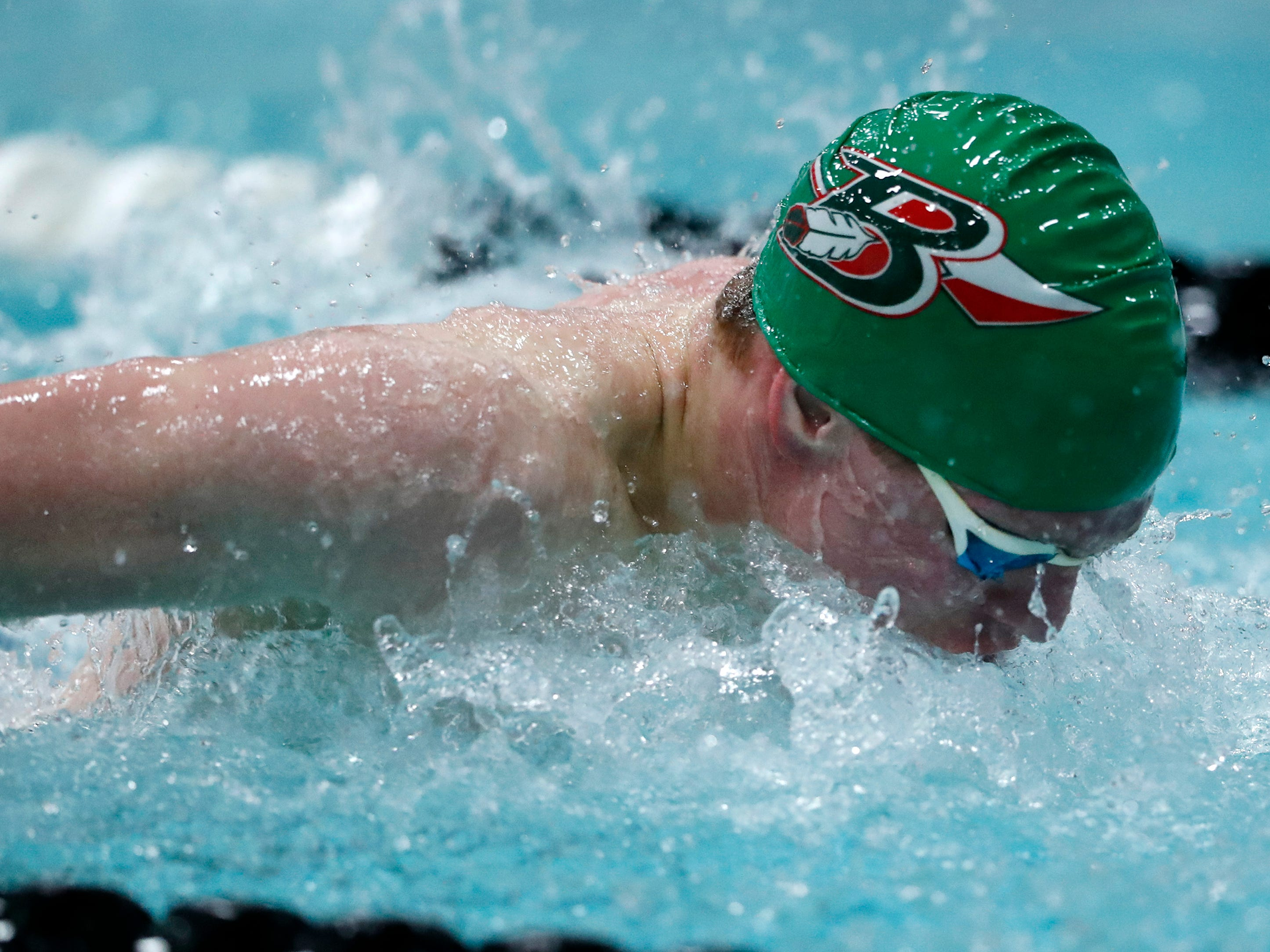 Berlin/Green Lake's Sam Ryf races in the 100-yard butterfly during the Division 2 2019 State Boys Swimming and Diving Championships Friday, Feb. 15, 2019, at the UW Natatorium in Madison, Wis.