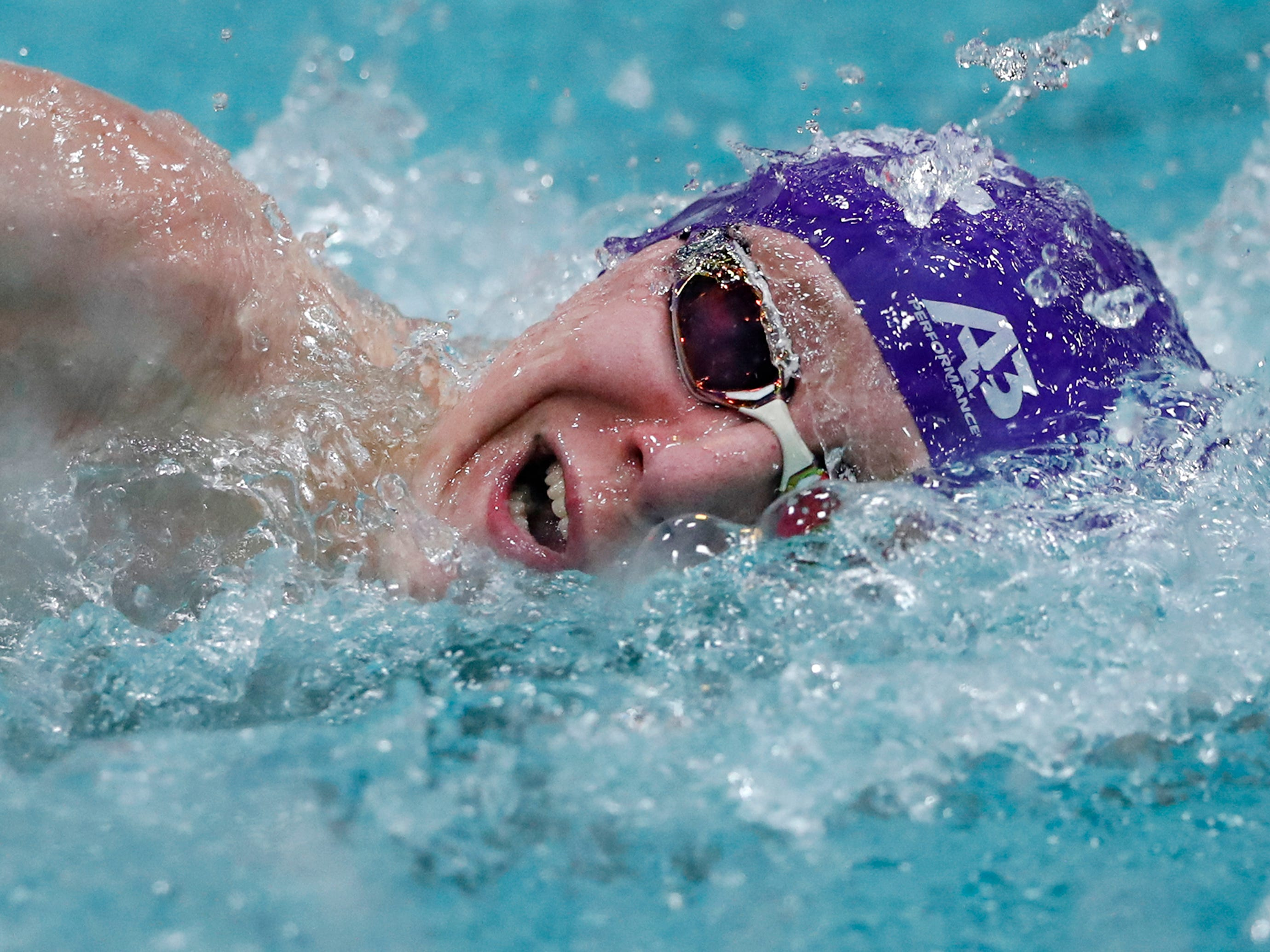 Kiel/Elkhart Lake-Glenbeulah's Ashton Arnold races in the 100-yard freestyle during the Division 2 2019 State Boys Swimming and Diving Championships Friday, Feb. 15, 2019, at the UW Natatorium in Madison, Wis.