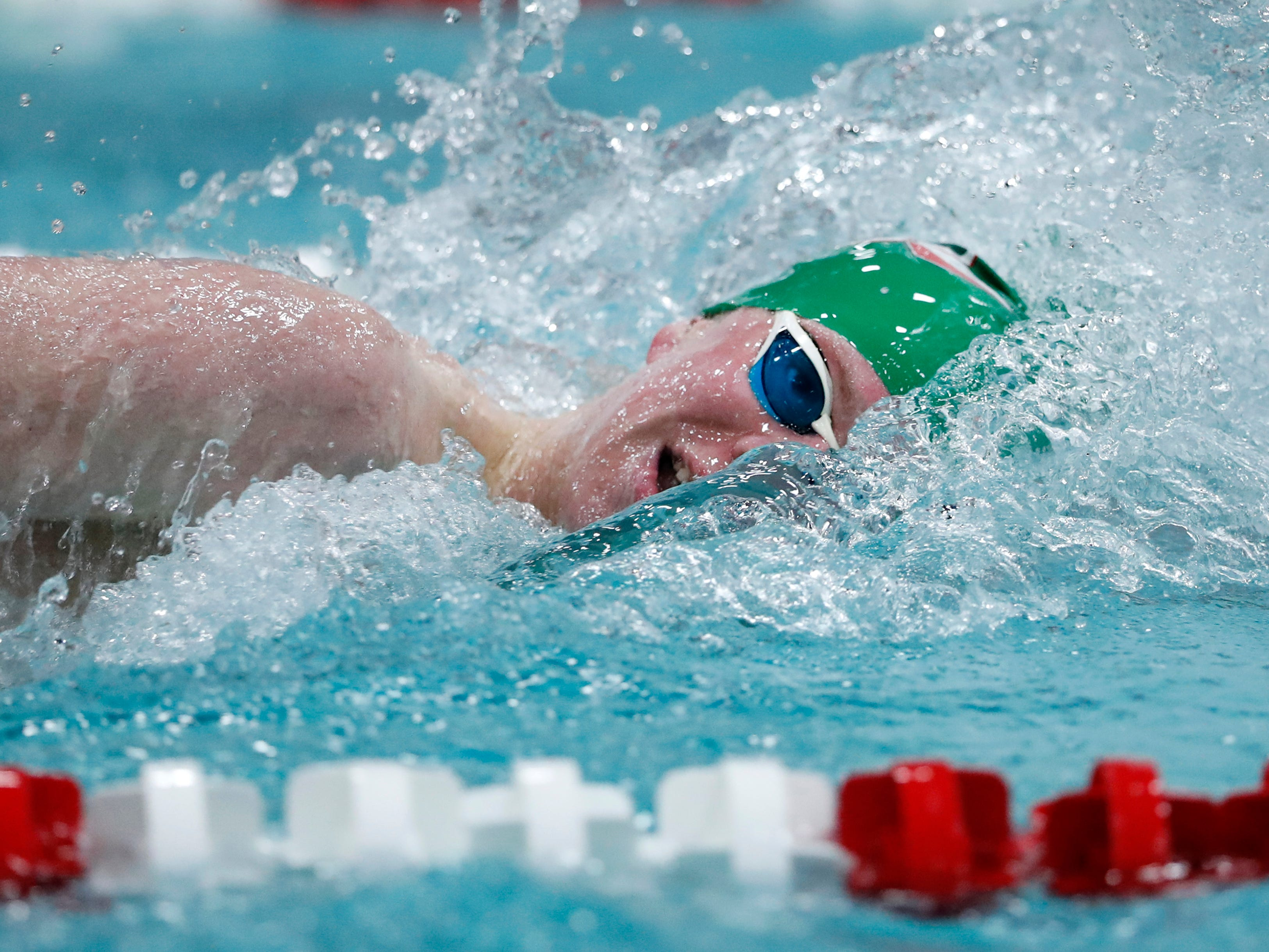 Berlin/Green Lake's Sam Ryf competes in the 200-yard freestyle during the Division 2 2019 State Boys Swimming and Diving Championships Friday, Feb. 15, 2019, at the UW Natatorium in Madison, Wis.
