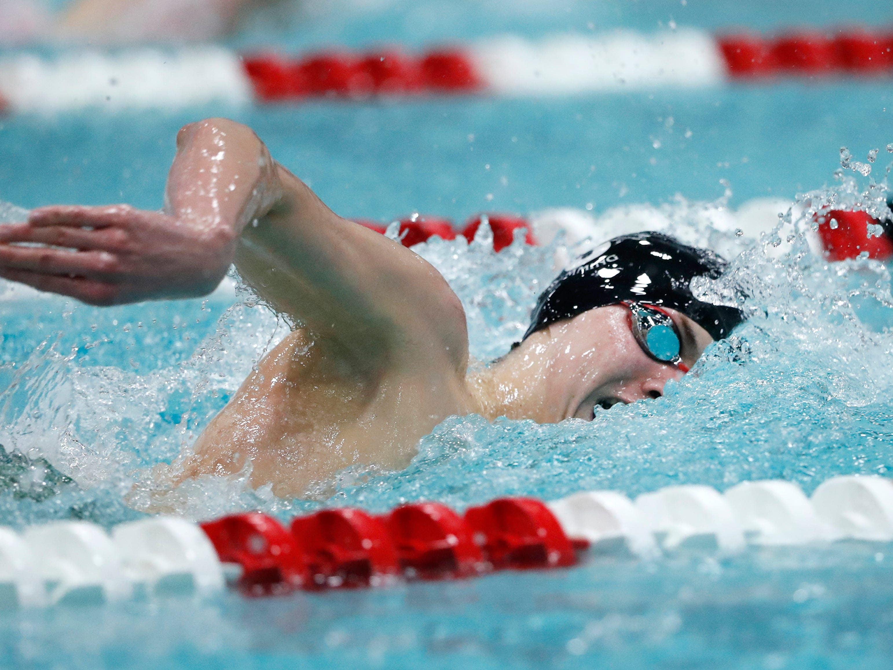Shorewood's Evan Szablewski competes in the 200-yard freestyle during the Division 2 2019 State Boys Swimming and Diving Championships Friday, Feb. 15, 2019, at the UW Natatorium in Madison, Wis.
