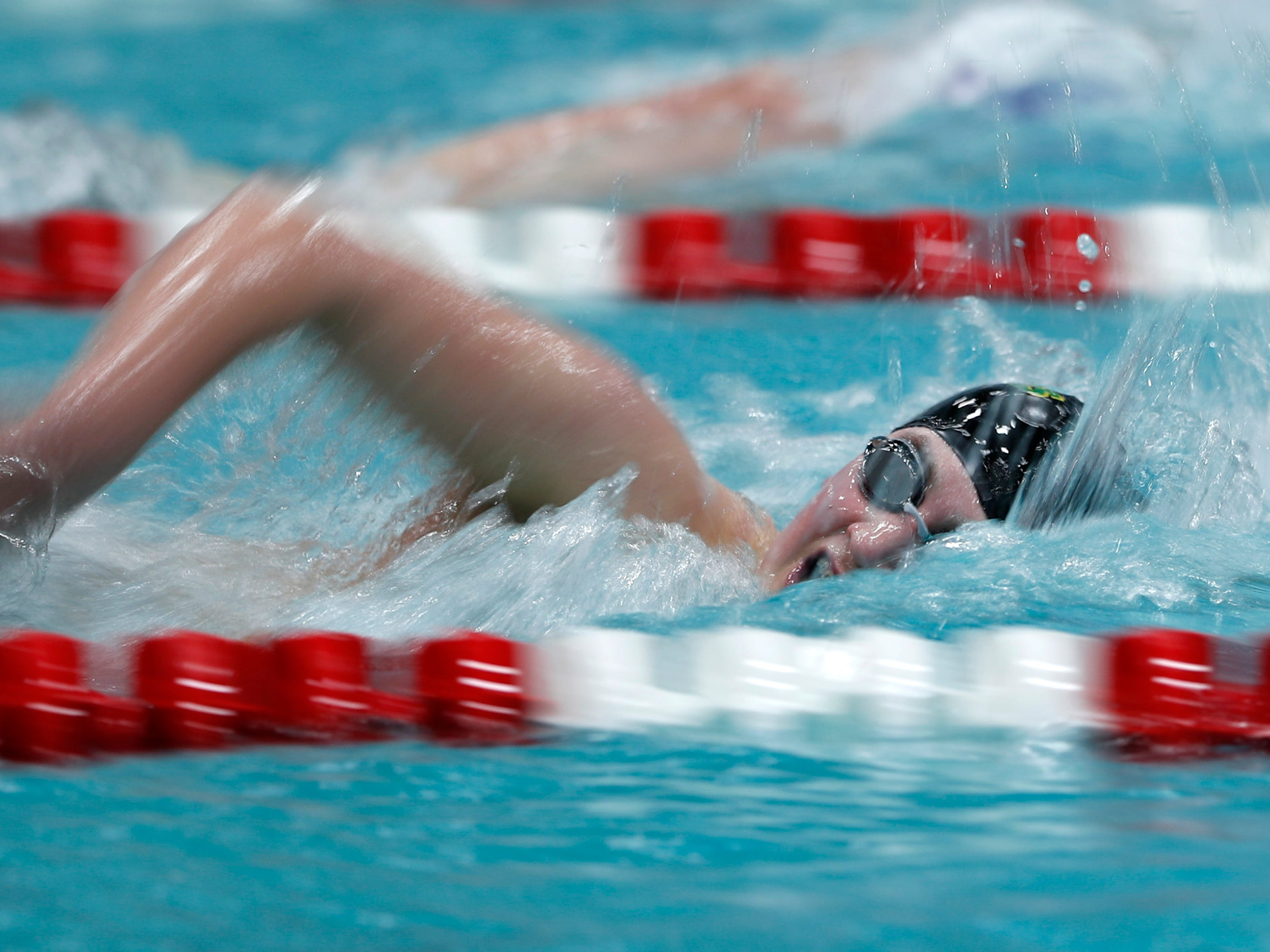 Ashwaubenon's Jackson Hodek competes in the 500-yard freestyle during the Division 2 2019 State Boys Swimming and Diving Championships Friday, Feb. 15, 2019, at the UW Natatorium in Madison, Wis.