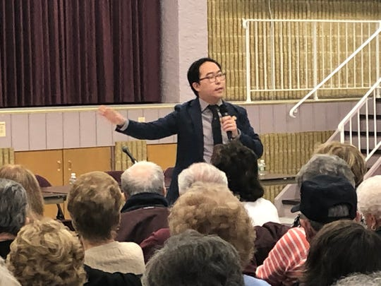 Congressman Andy Kim spoke to a crowd of at least 300 in Berkeley Saturday. It was the second of Kim's promised monthly town hall meetings, his first in Ocean County