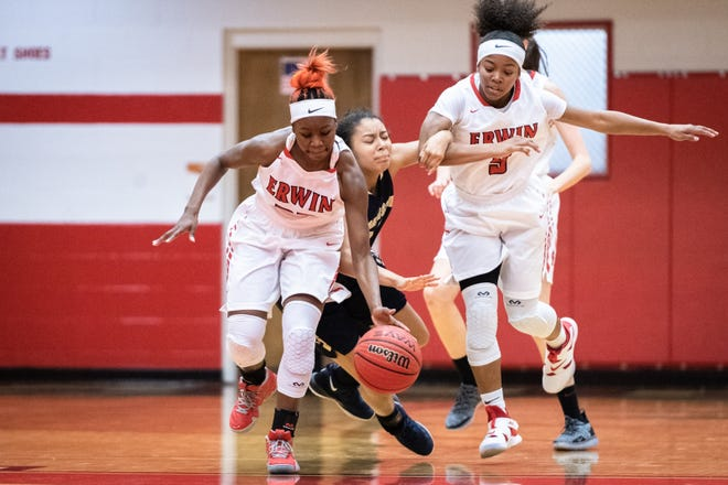 Erwin's Nautica Smiley makes a steal during a game in January
