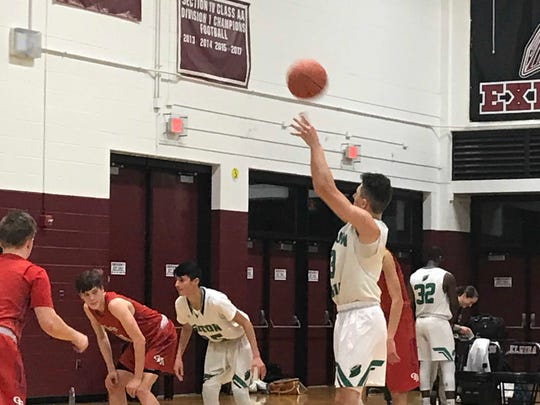 Seton CC's Tyler Rumpel at the free throw line.