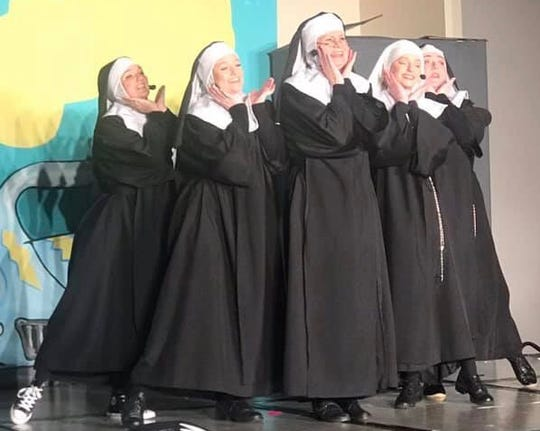 """CSTOCK's dinner-theater production of """"Nunsense"""" continues through March 3 at the Silverdale Beach Hotel. Cast members (from left) are Gracie Raiford, Hannah Robinson, Judy Batschi, Haley Robinson and Amy Knickerbocker."""
