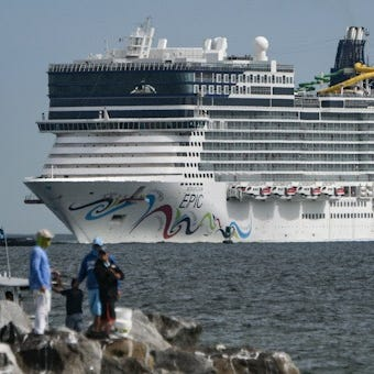 Norwegian Cruise Line's Epic arrives back at Port Canaveral on Saturday, Feb. 16, 2019 after it crashed into a pier in Puerto Rico. It suffered minor damages and there were no injuries.