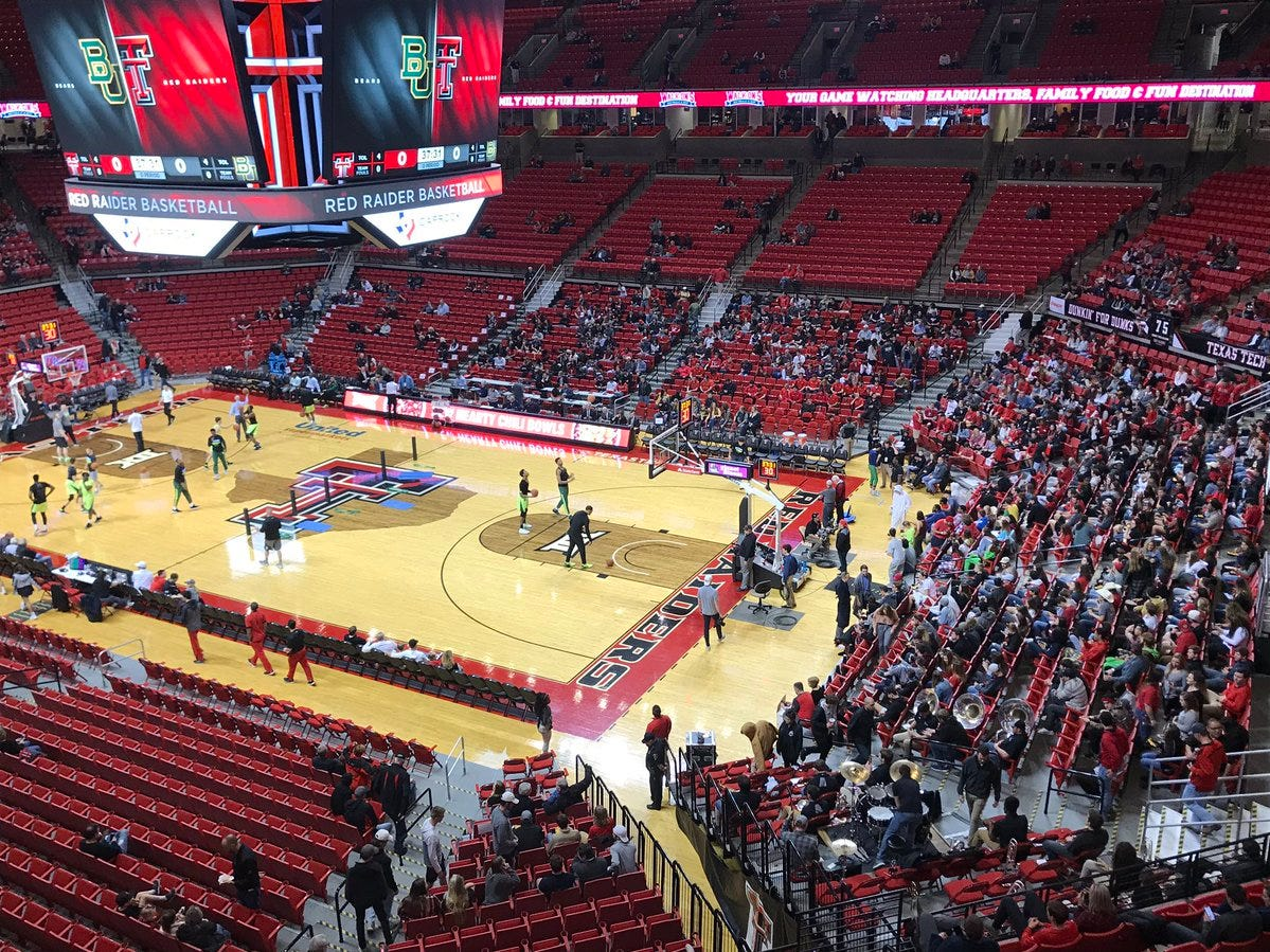 Texas Tech and Baylor prepare for their Big 12 Conference basketball game in Lubbock, Texas on Saturday, Feb. 16, 2019.