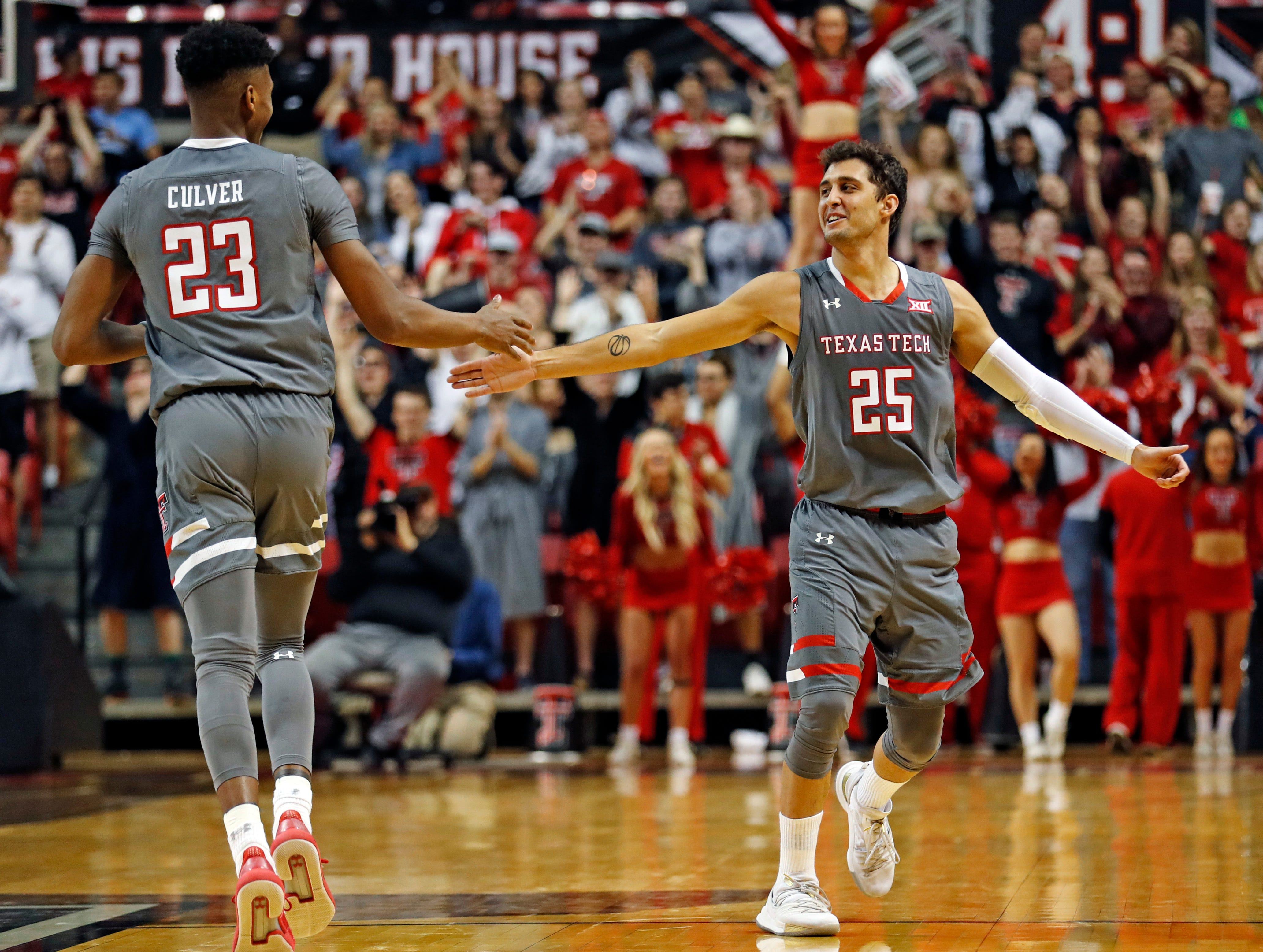 Texas Tech's Davide Moretti (25) high-fives Jarrett Culver (23) after he scored a three-point shot during the second half of an NCAA college basketball game against Baylor, Saturday, Feb. 16, 2019, in Lubbock, Texas. (AP Photo/Brad Tollefson)