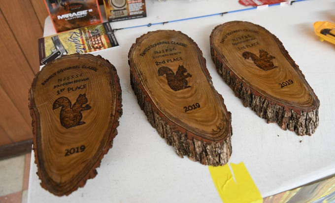 Awards for The First Annual Family Squirrel Classic pictured here inside the Inskip Antler Hunting Club in Winslow Township on Saturday, Feb. 16, 2019.