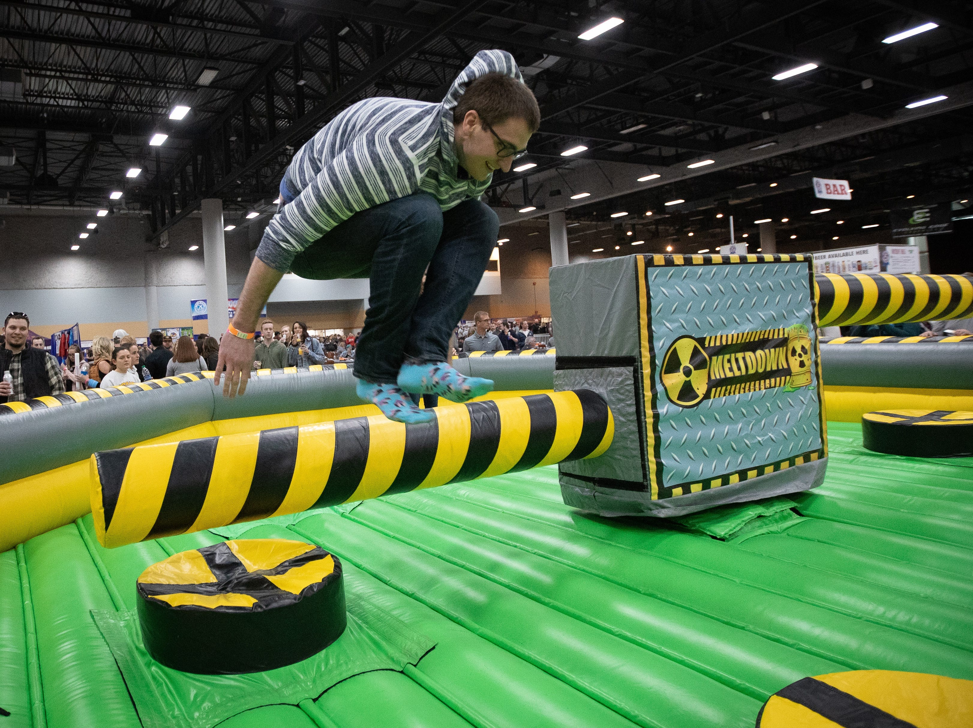 Ted Friedman, of Ankeny, participates in the Meltdown during the Bacon Fest at Hy-Vee Hall on Feb. 16, 2019 in Des Moines, Iowa.