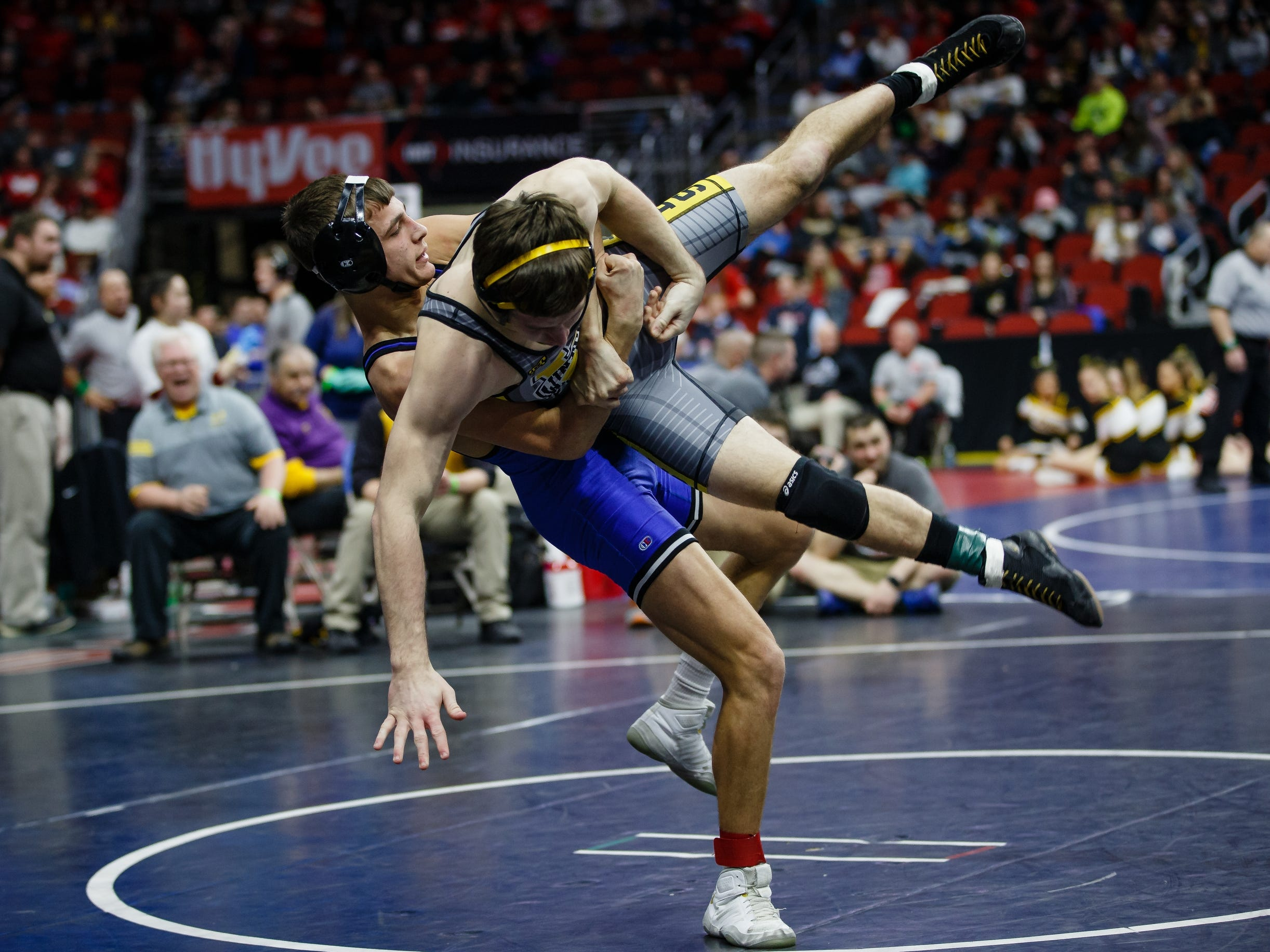 Jack West of Winterset wrestles Will Esmoil of West Liberty during their class 2A 145 pound state championship semi-final match on Friday, Feb. 15, 2019 in Des Moines. Esmoil moves on with a 5-0 decision.