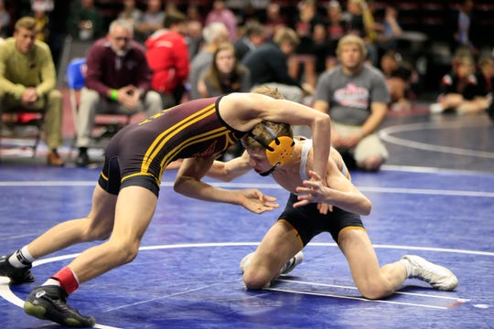 Waverly-Shell Rock's Aiden Riggins, pictured here competing at the 2019 Class 3A state wrestling tournament, was a finalist at the UWW U15 freestyle nationals and then won the U16 freestyle state title last weekend.