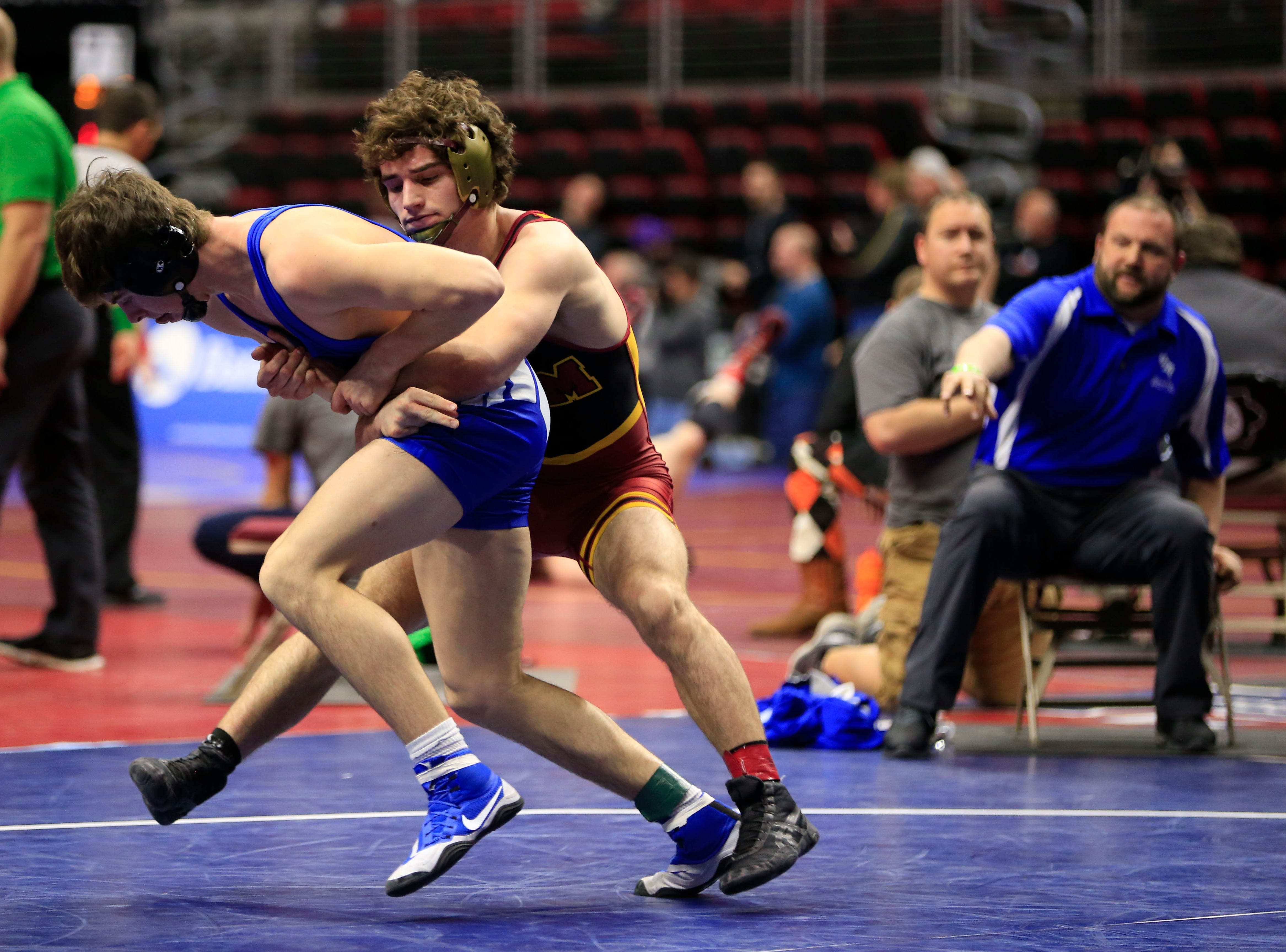 Wes Cummings of PCM, Monroe defeats Caleb Swalla of Van Meter-Earlham during a 160 Lb 2A quarterfinal match at the state wrestling tournament Friday, Feb. 15, 2019.
