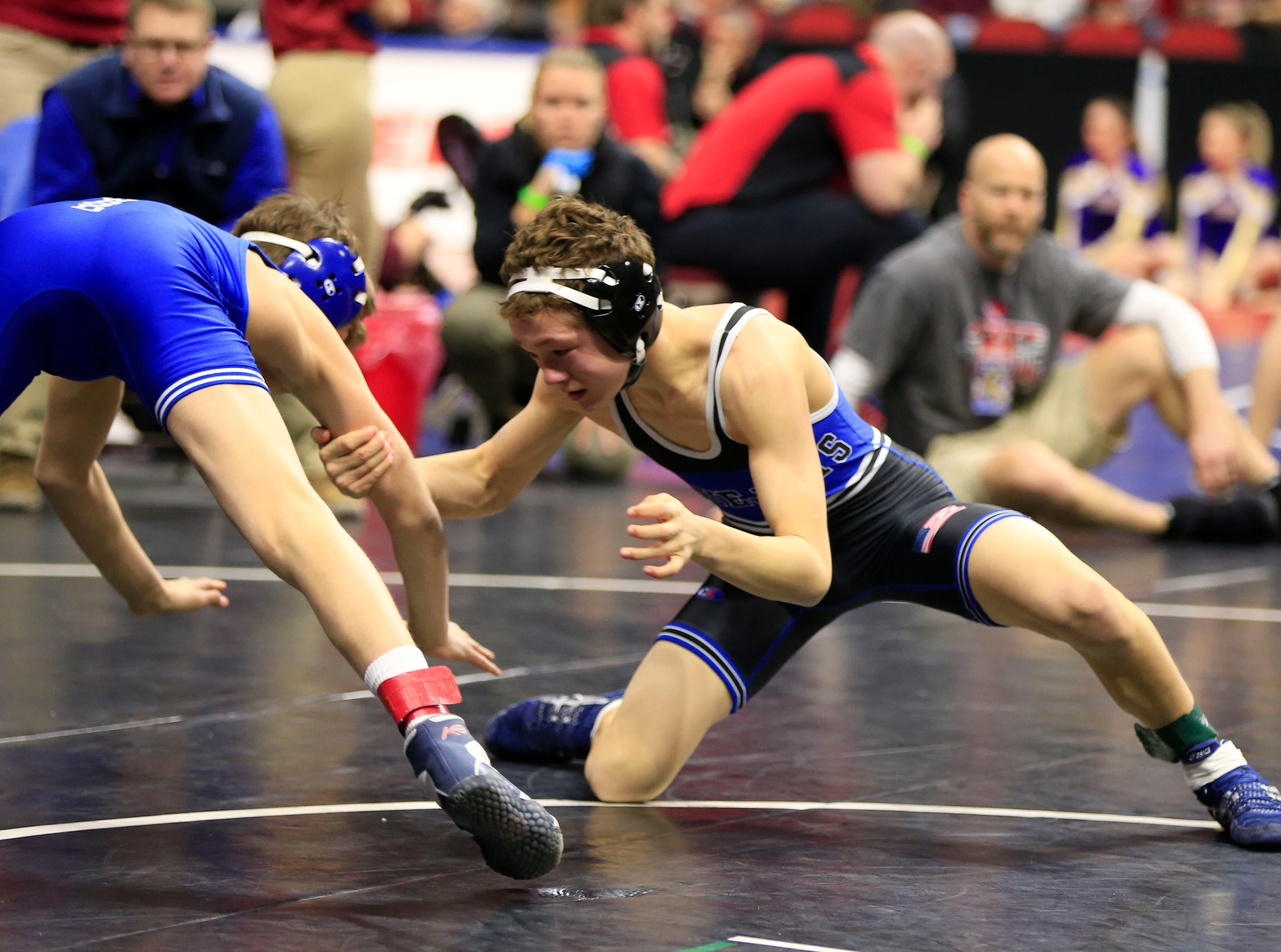 Carter Fousek of Crestwood, Cresco defeats Rylie Anderson of Bondurant-Farrarduring a 106 Lb 2A quarterfinal match at the state wrestling tournament Friday, Feb. 15, 2019.