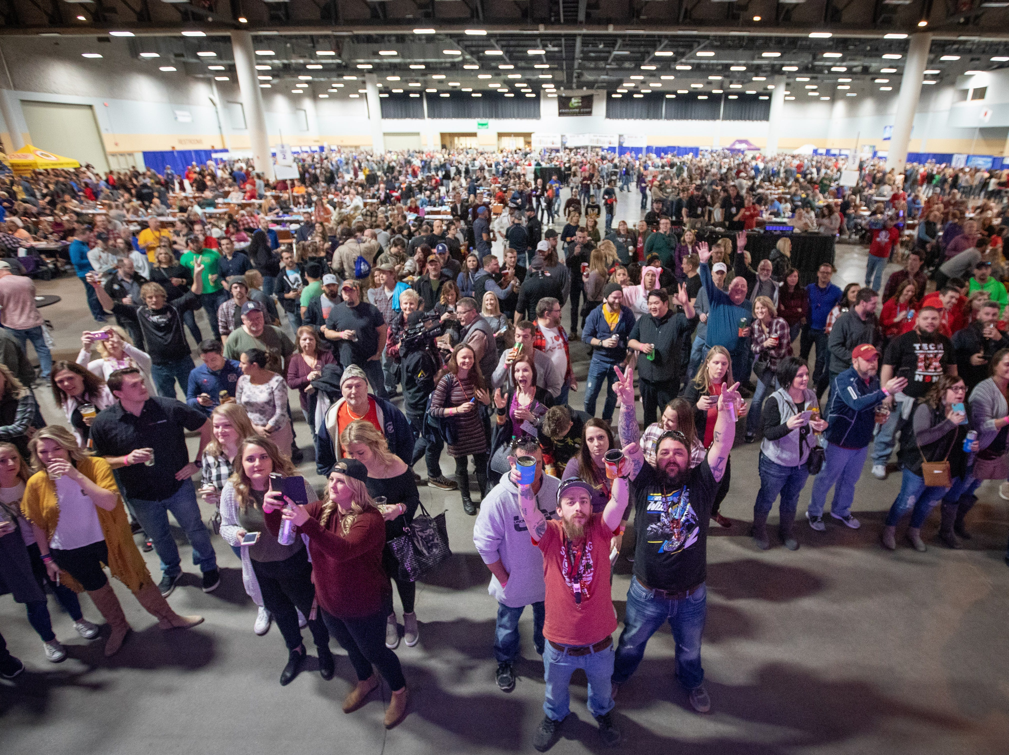 A general view of the crowd during the Bacon Fest at Hy-Vee Hall on Feb. 16, 2019 in Des Moines, Iowa.
