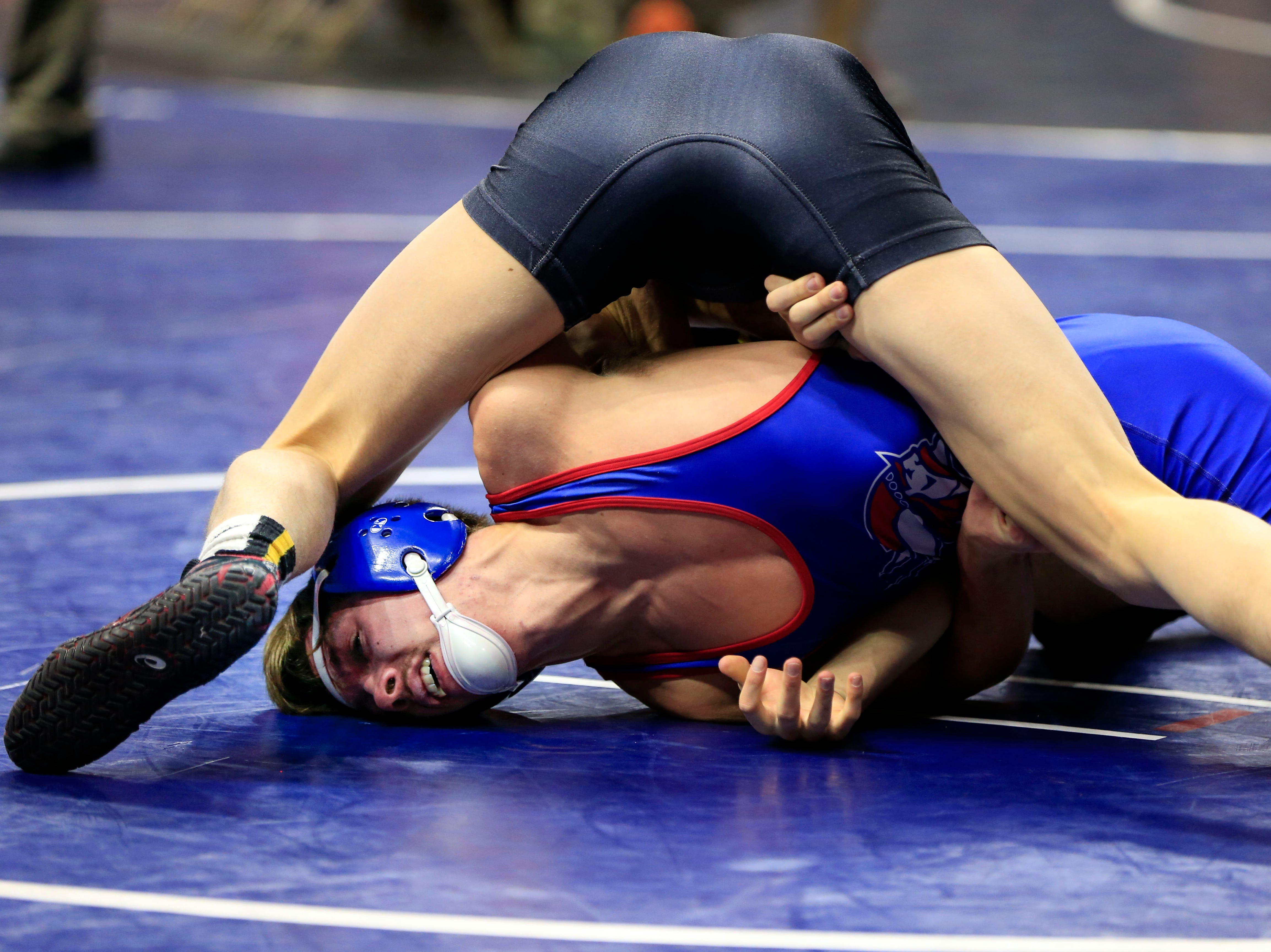 Eric Faught of Clear Lake defeats Jackson Rolfs of Decorah during a 132 Lb 2A quarterfinal match at the state wrestling tournament Friday, Feb. 15, 2019.