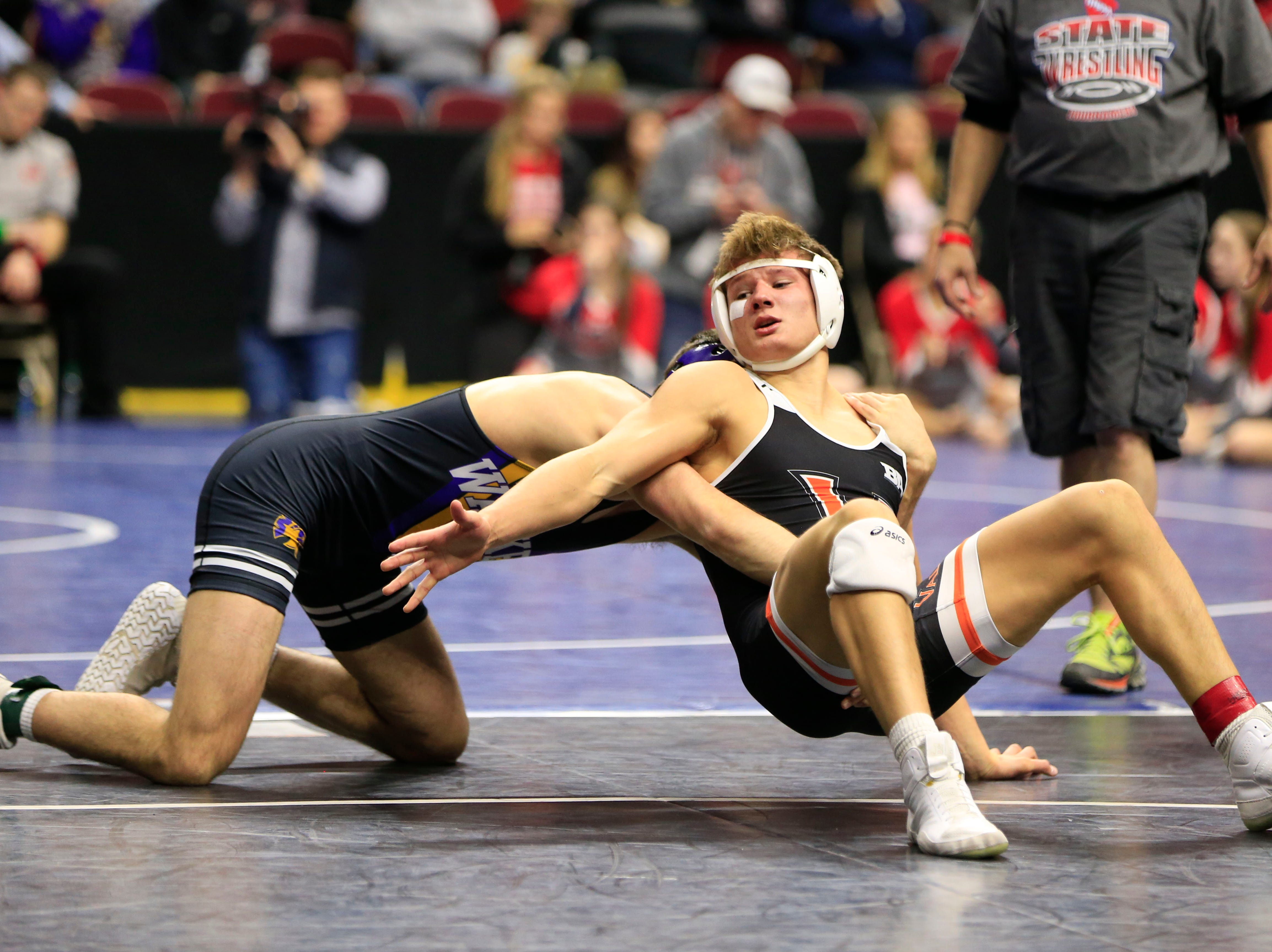 Anthony Zach of Waukee defeats Blake Underwood of Valley, West Des Moines during a 170 Lb 3A semifinal match at the state wrestling tournament Friday, Feb. 15, 2019.
