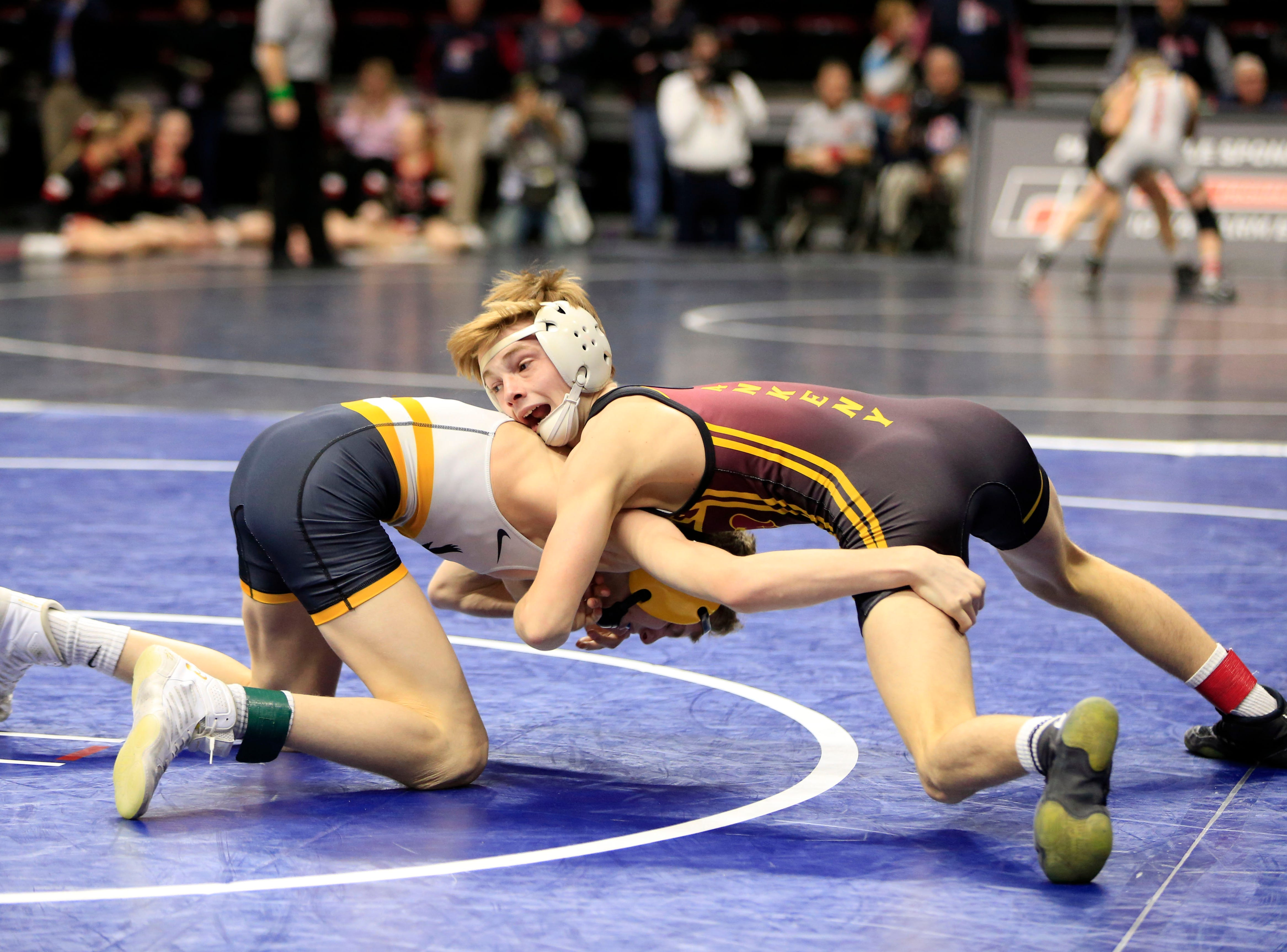 Trever Anderson of Ankeny defeats Aiden Riggins of Waverly-Shell Rock during a 106 Lb 3A semifinal match at the state wrestling tournament Friday, Feb. 15, 2019.