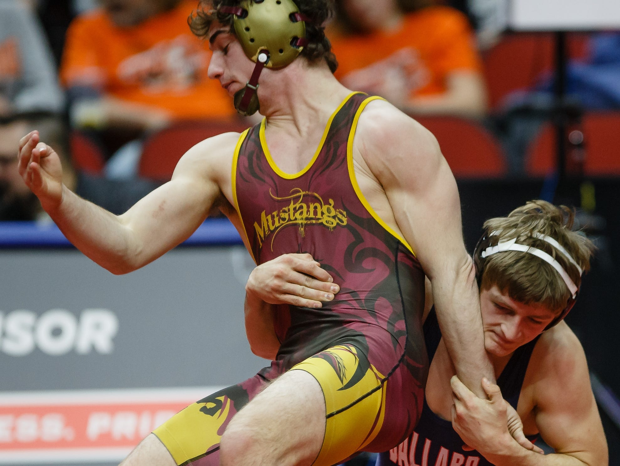 Wes Cummings of PCM wrestles Skyler Noftsger of Ballard during their class 2A 160 pound state championship semi-final match on Friday, Feb. 15, 2019 in Des Moines. Skyler Noftsger moves on with a 10-7 decision.
