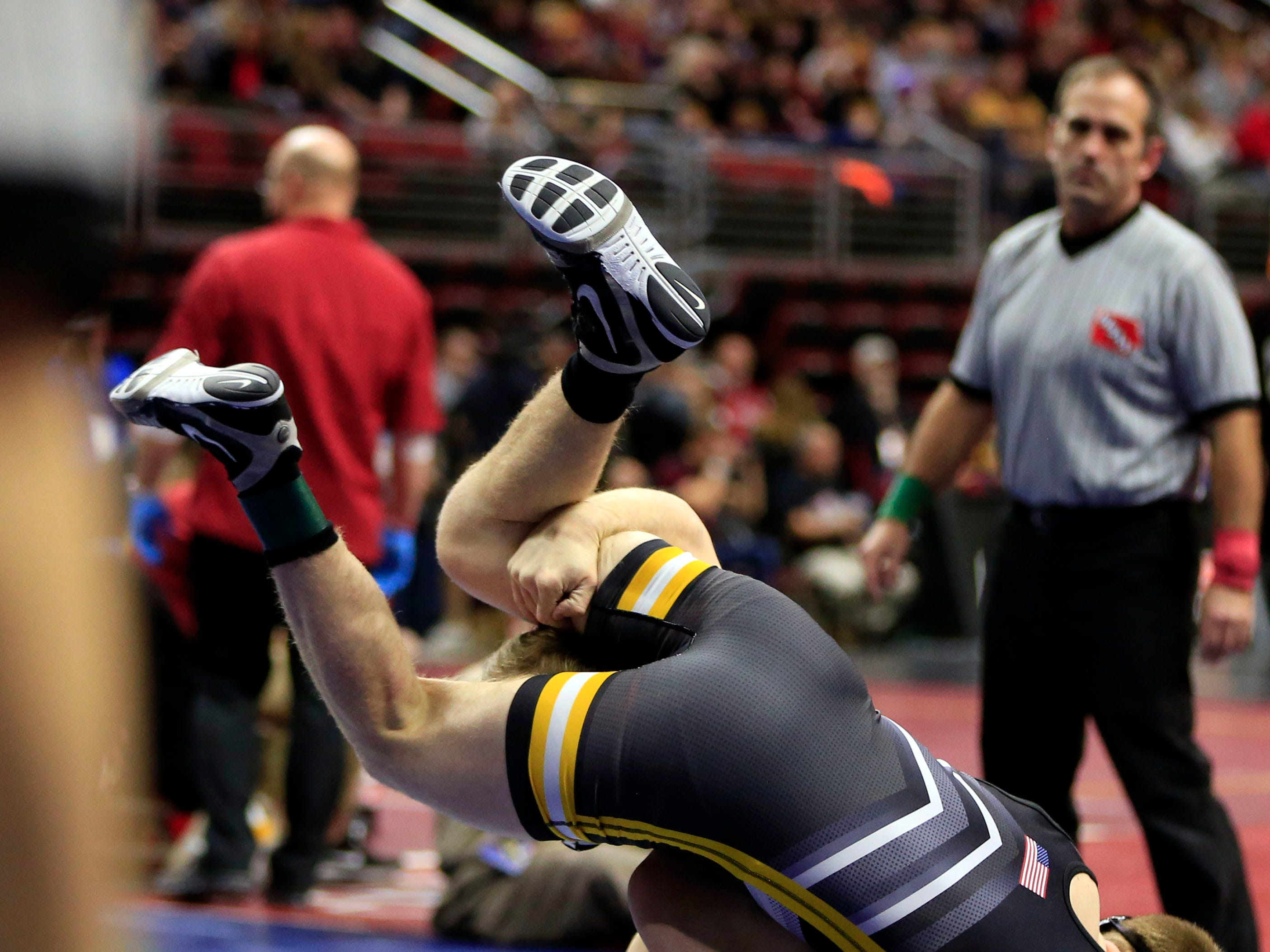 Kaden Anderlik of Crestwood, Cresco defeats Caleb Fuessley of Center Point-Urbana during a 120 Lb 2A quarterfinal match at the state wrestling tournament Friday, Feb. 15, 2019.