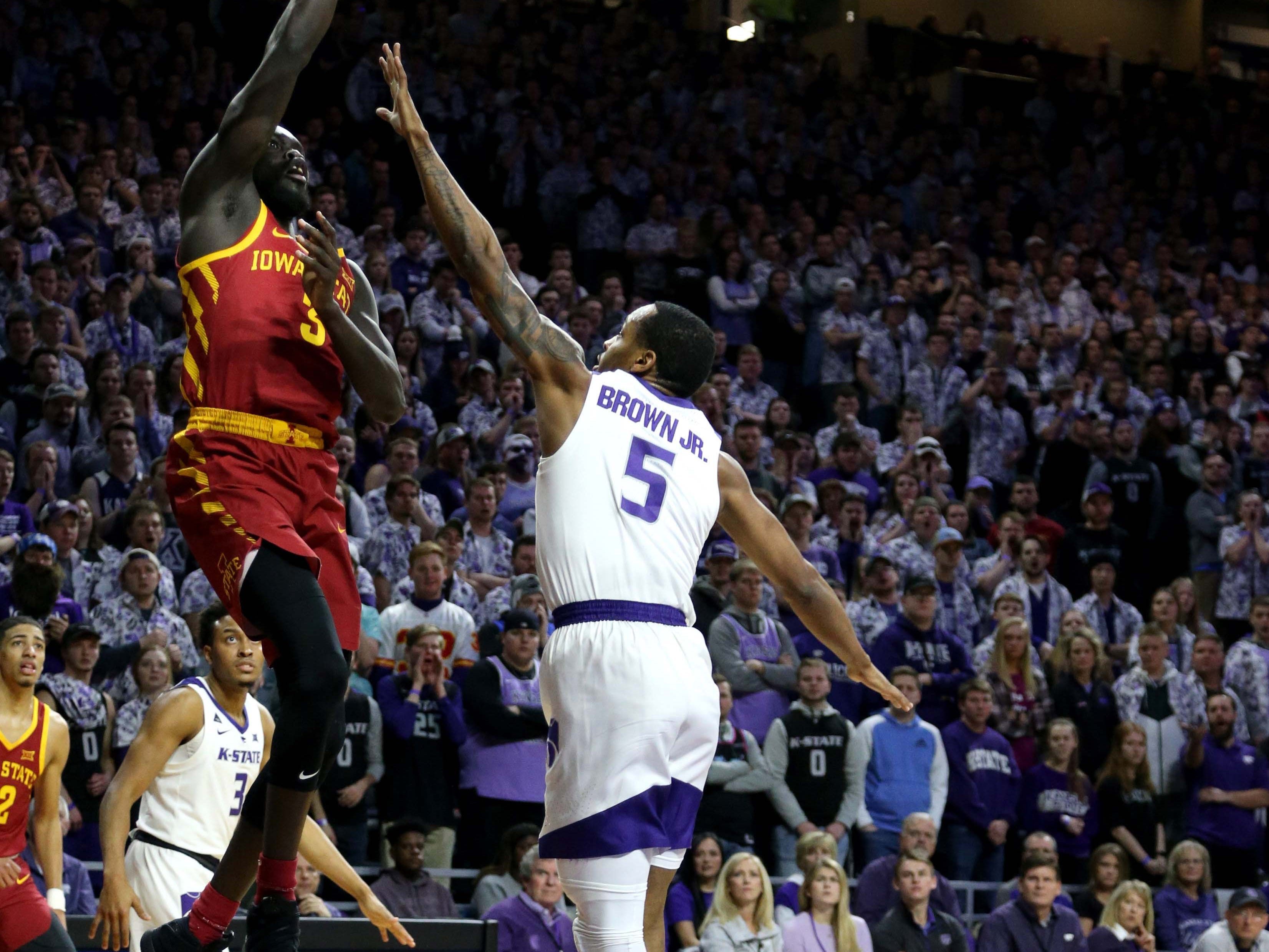 Feb 16, 2019; Manhattan, KS, USA; Iowa State Cyclones guard Marial Shayok (3) shoots over Kansas State Wildcats guard Barry Brown (5) during the first half at Bramlage Coliseum.