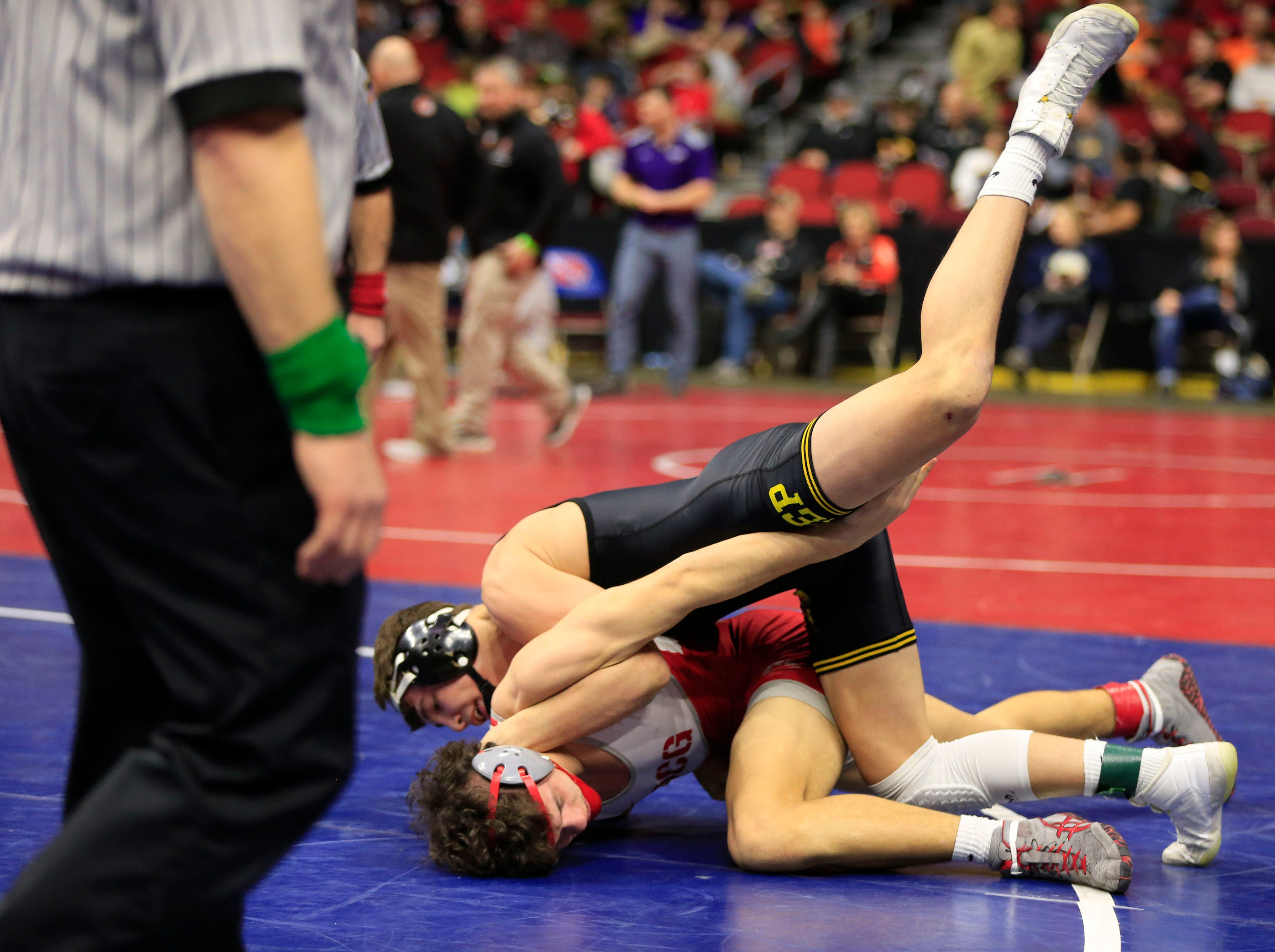 Cade DeVos of Southeast Polk defeats Luke Fistler of Dallas Center-Grimes during a 160 Lb 3A semifinal match at the state wrestling tournament Friday, Feb. 15, 2019.