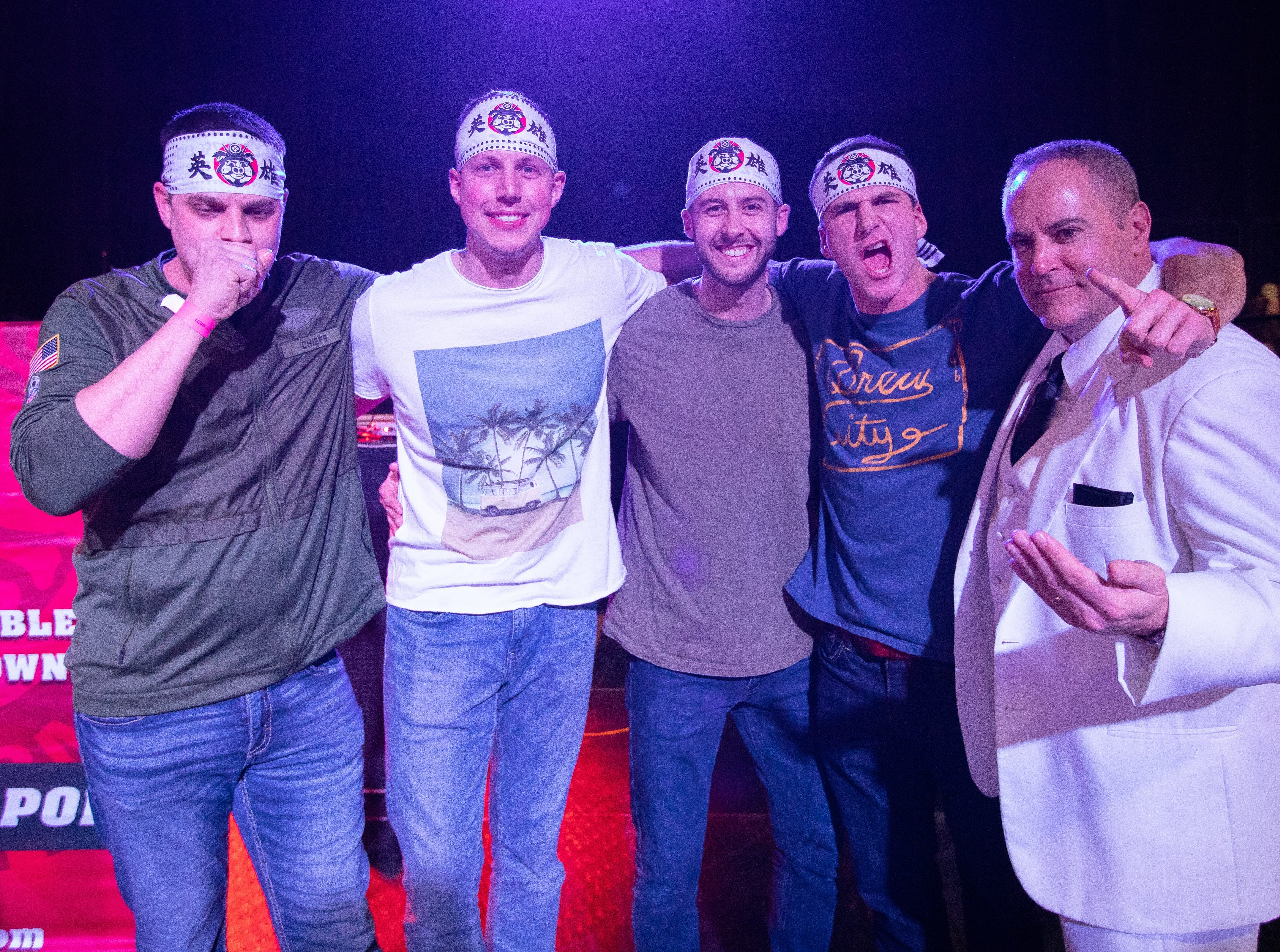 (L to R) Matt Baker, Jake Logan, Garrett Crall, James Grunert, and Paul Schulte pose for a photo after the eating contest during the Bacon Fest at Hy-Vee Hall on Feb. 16, 2019 in Des Moines, Iowa.