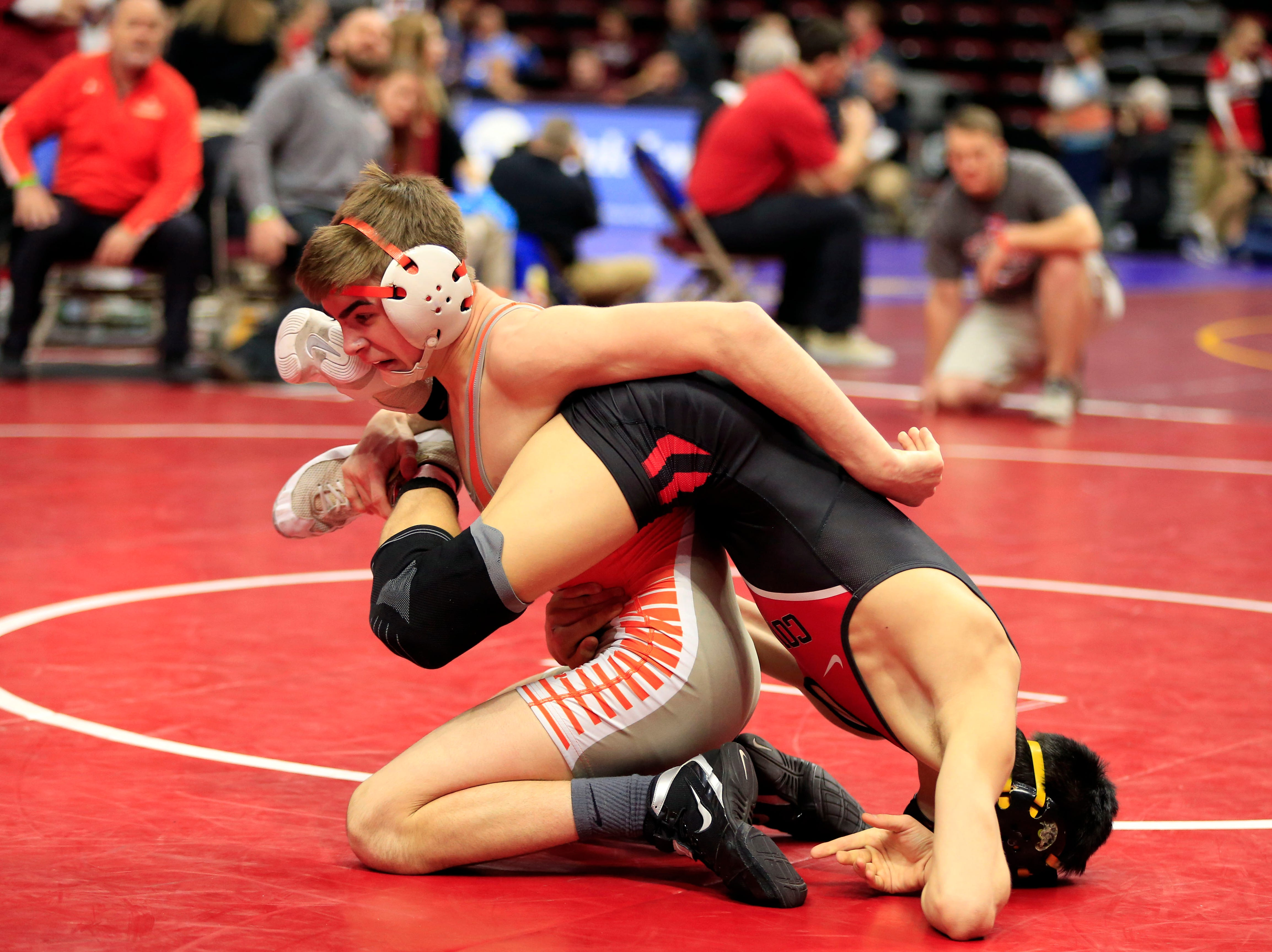 Jack Gaukel of Sergeant Bluff-Luton defeated Remington Hanson of Clarion-Goldfield-Dows during a 132 Lb 2A quarterfinal match at the state wrestling tournament Friday, Feb. 15, 2019.